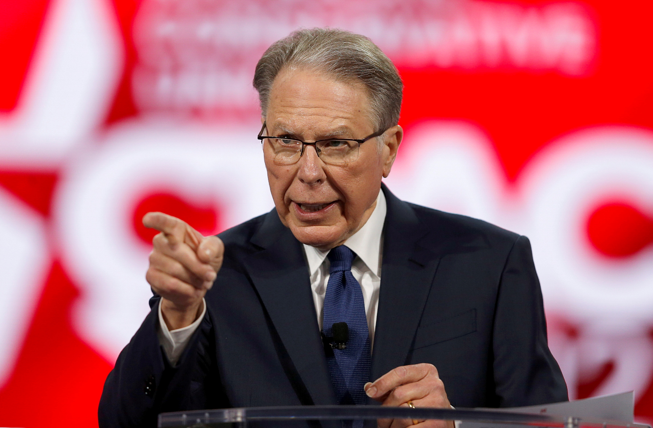 Wayne LaPierre, executive Vice President of the National Rifle Association speaks at the Conservative Political Action Conference (CPAC) in Orlando, Florida, U.S. February 28, 2021. REUTERS/Joe Skipper/File Photo