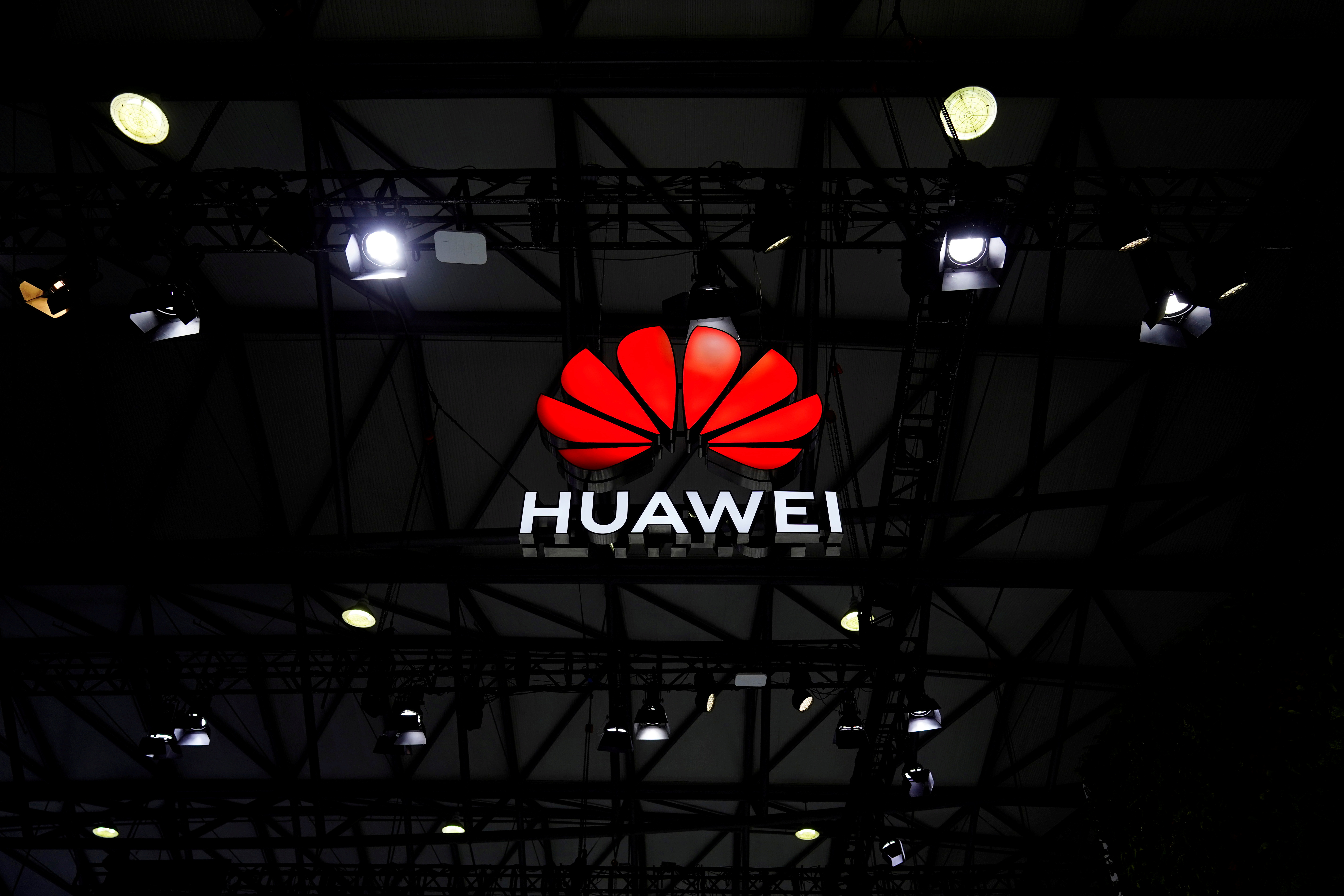 A Huawei logo is seen at the Mobile World Congress (MWC) in Shanghai, China February 23, 2021. REUTERS/Aly Song/File Photo