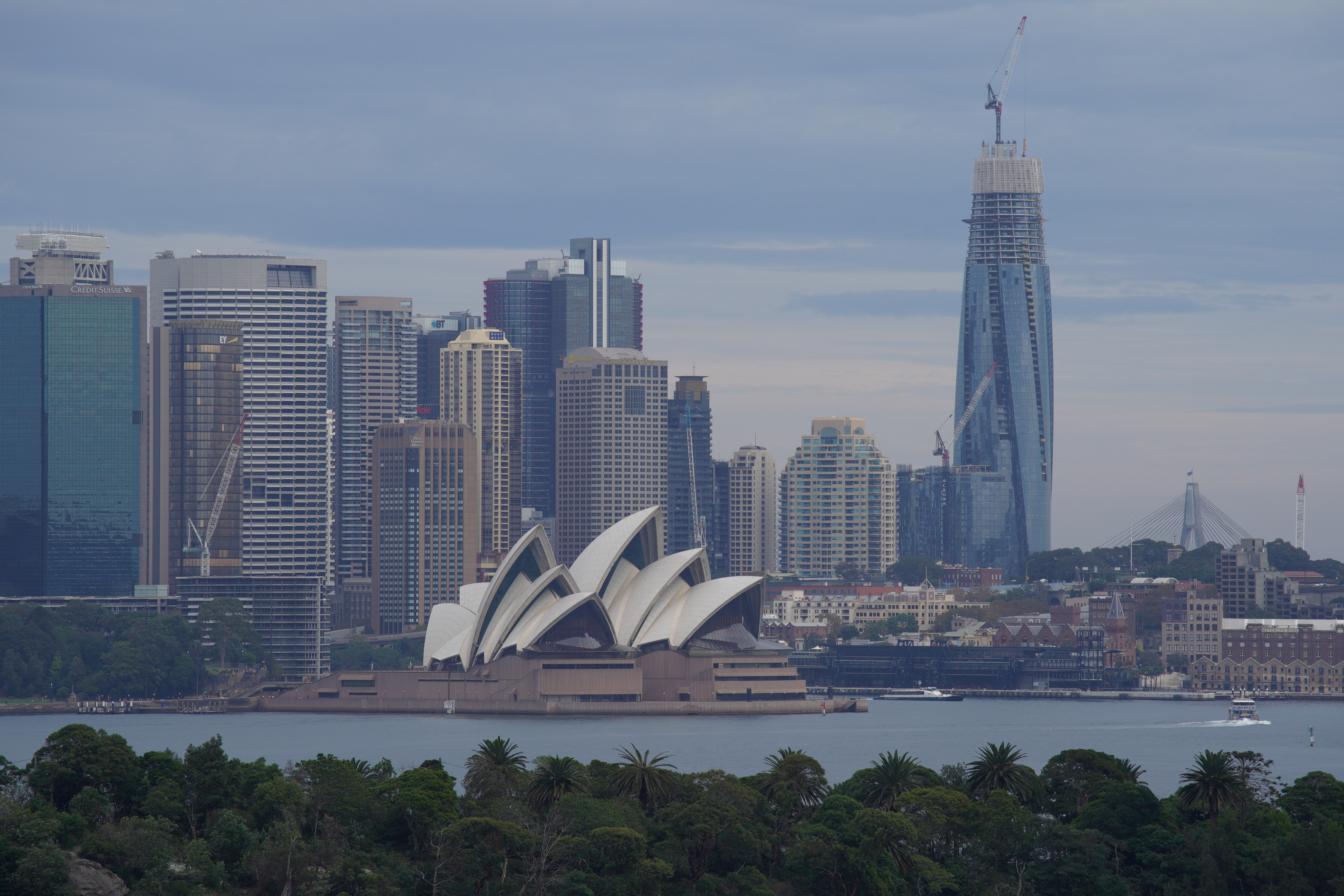 The Sydney Opera House and city centre skyline are seen as the spread of the coronavirus disease (COVID-19) continues in Sydney, Australia, April 20, 2020.  REUTERS/Loren Elliott/File Photo