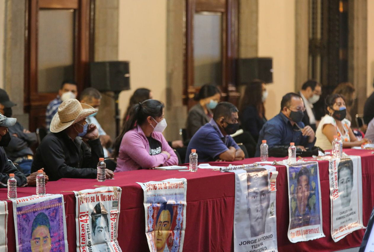 Relatives of the 43 missing students who disappeared on September 26, 2014, attending a meeting with Mexico's President Andres Manuel Lopez Obrador and Attonery General Alejandro Gertz Manero at the National Palace in Mexico City, Mexico September 24, 2021. Mexico Presidency/Handout via REUTERS