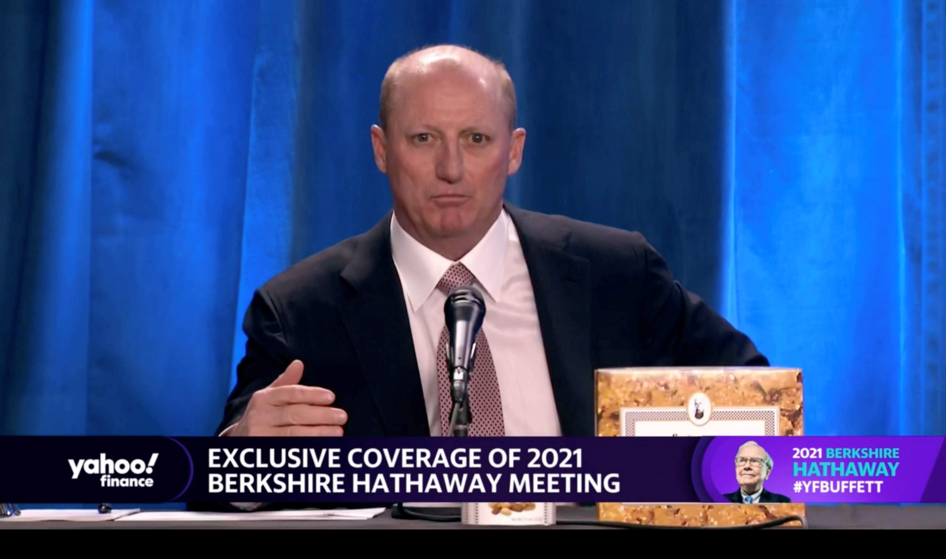 Berkshire Hathaway's vice chairman Gregory Abel speaks at Berkshire's annual meeting, held virtually for a second year, in Los Angeles, California, U.S. May 1, 2021 in this screen grab taken from a live-stream video. Yahoo Finance/ Handout via REUTERS