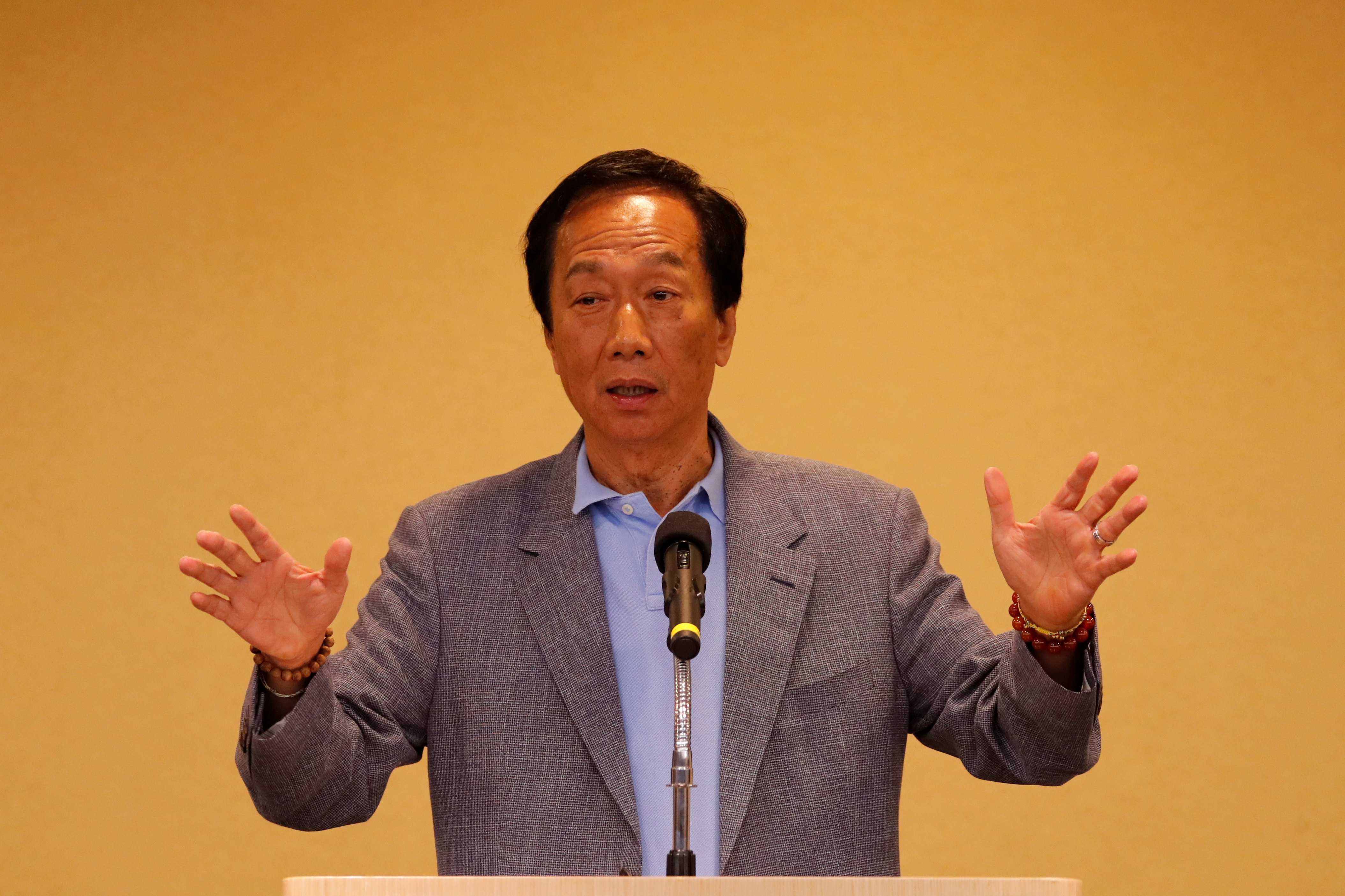 Foxconn Technology Group founder and chairman, Terry Gou, speaks during a news conference after his trip to the U.S., in Taipei, Taiwan May 6, 2019. REUTERS/Tyrone Siu