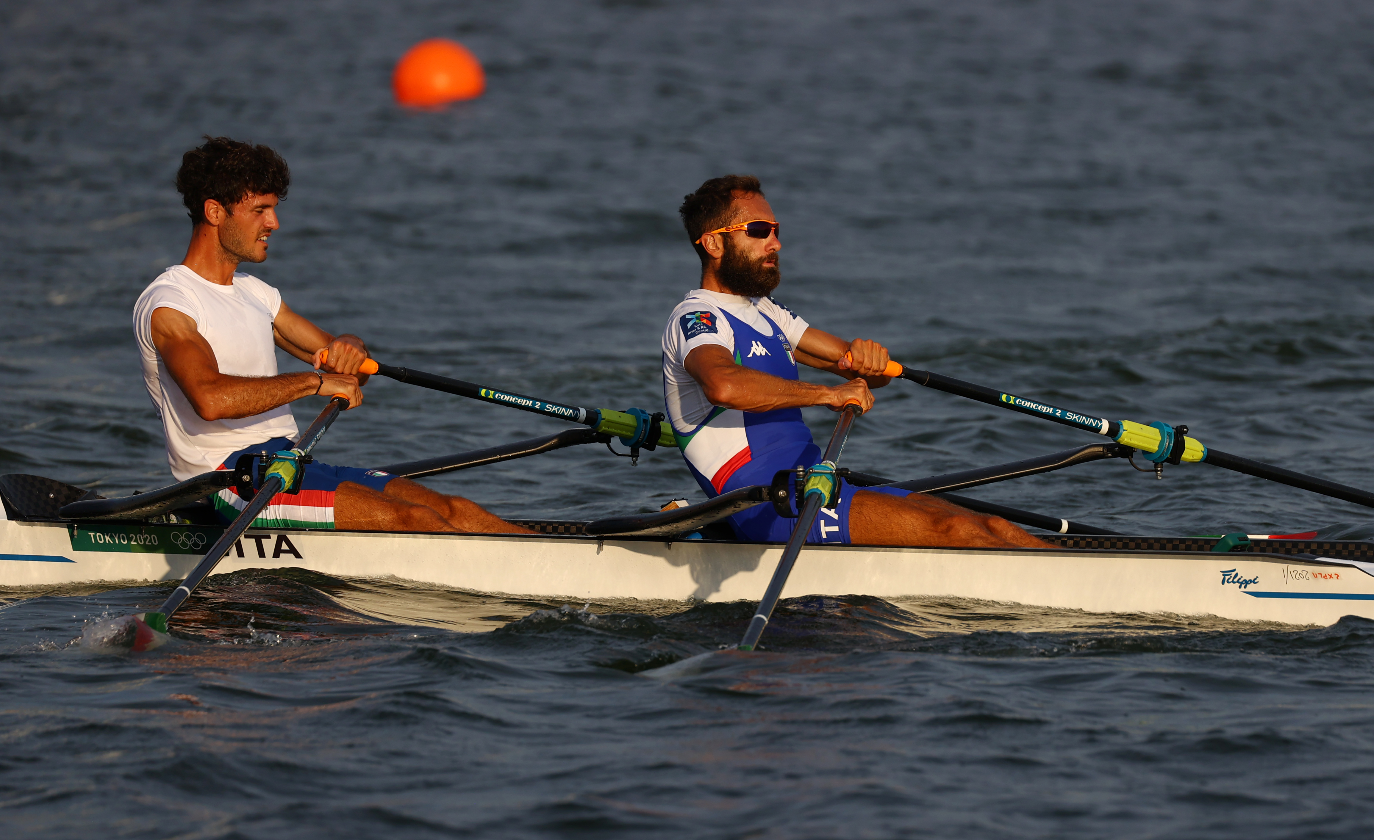 Tokyo 2020 Olympics - Rowing Training - Sea Forest Waterway, Tokyo, Japan - July 22, 2021 Pietro Ruta of Italy and Stefano Oppo of Italy during training REUTERS/Leah Millis