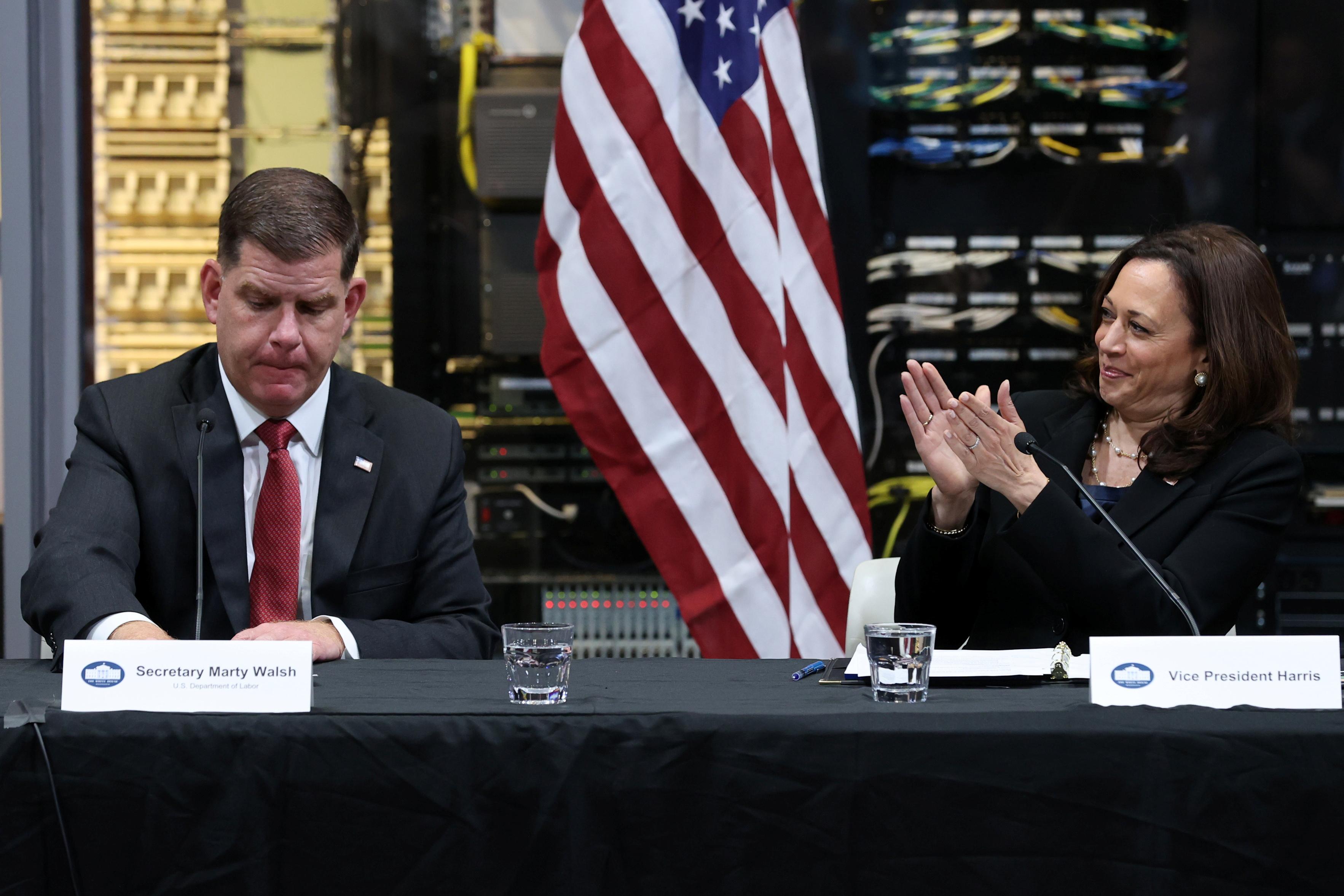 Vice President Kamala Harris and Secretary of Labor Marty Walsh. REUTERS/Jonathan Ernst