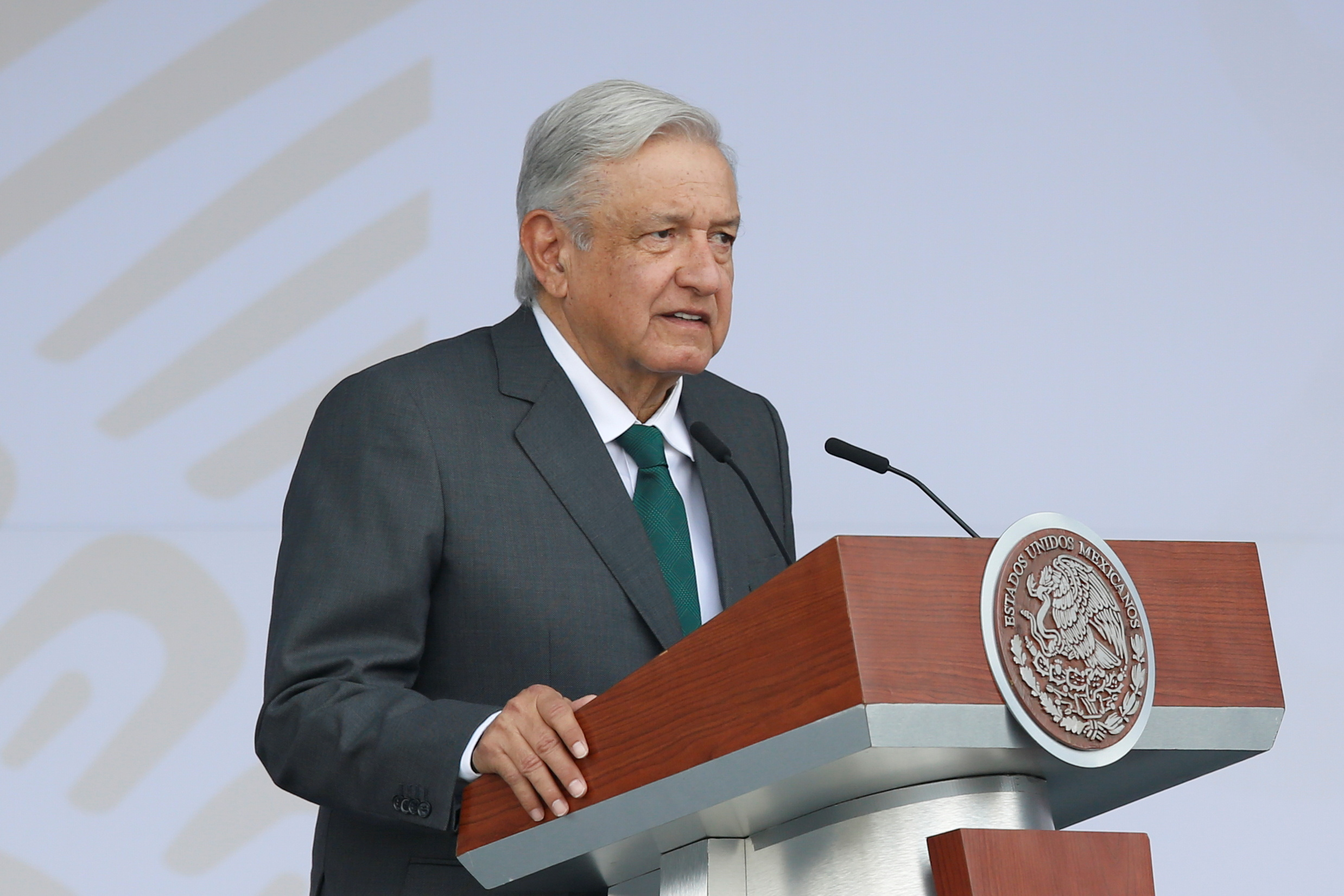 Mexico's President Andres Manuel Lopez Obrador speaks before the traditional military parade to mark the bicentennial of Mexico's Independence from Spain, and ahead of the summit of the Community of Latin American and Caribbean States (CELAC), at the Zocalo square in Mexico City, Mexico September 16, 2021. REUTERS/Gustavo Graf