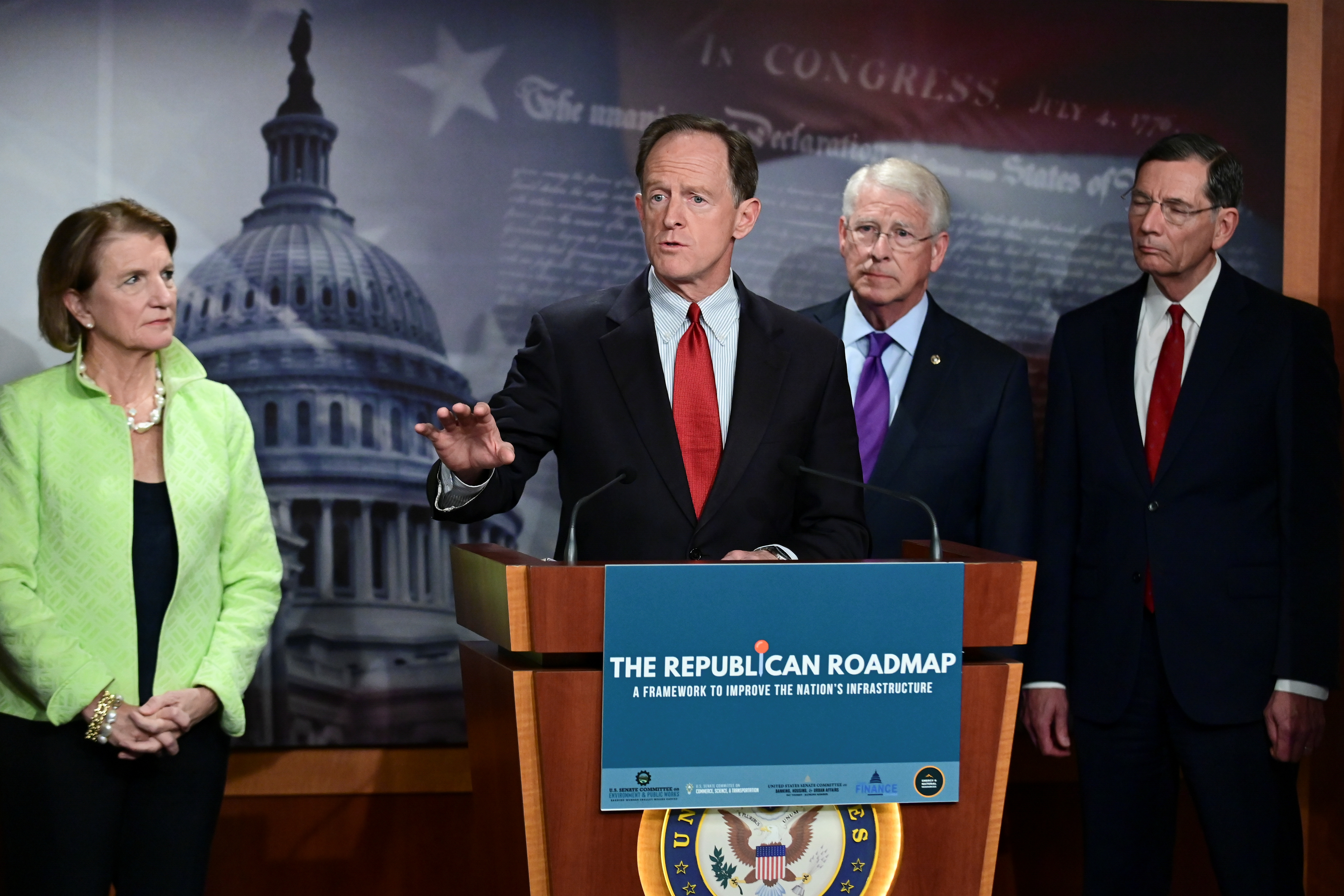 Pat Toomey (R-PA) speaks during a news conference to introduce the Republican infrastructure plan, at the U.S. Capitol in Washington, U.S., April 22, 2021. REUTERS/Erin Scott