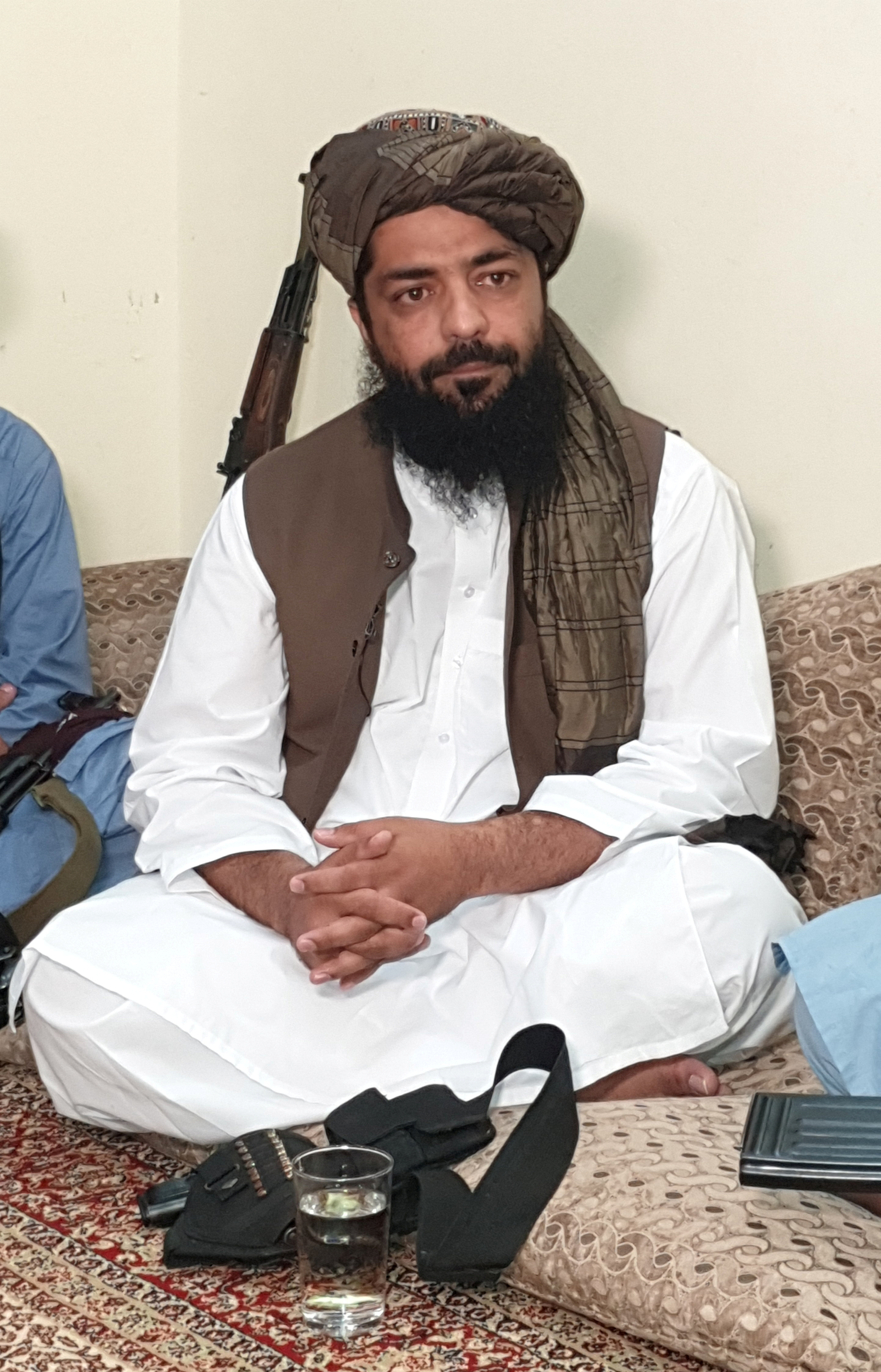 Waheedullah Hashimi, a senior Taliban commander, pauses while speaking with Reuters during an interview at an undisclosed location near Afghanistan-Pakistan border August 17, 2021. Picture taken August 17, 2021. REUTERS/Stringer