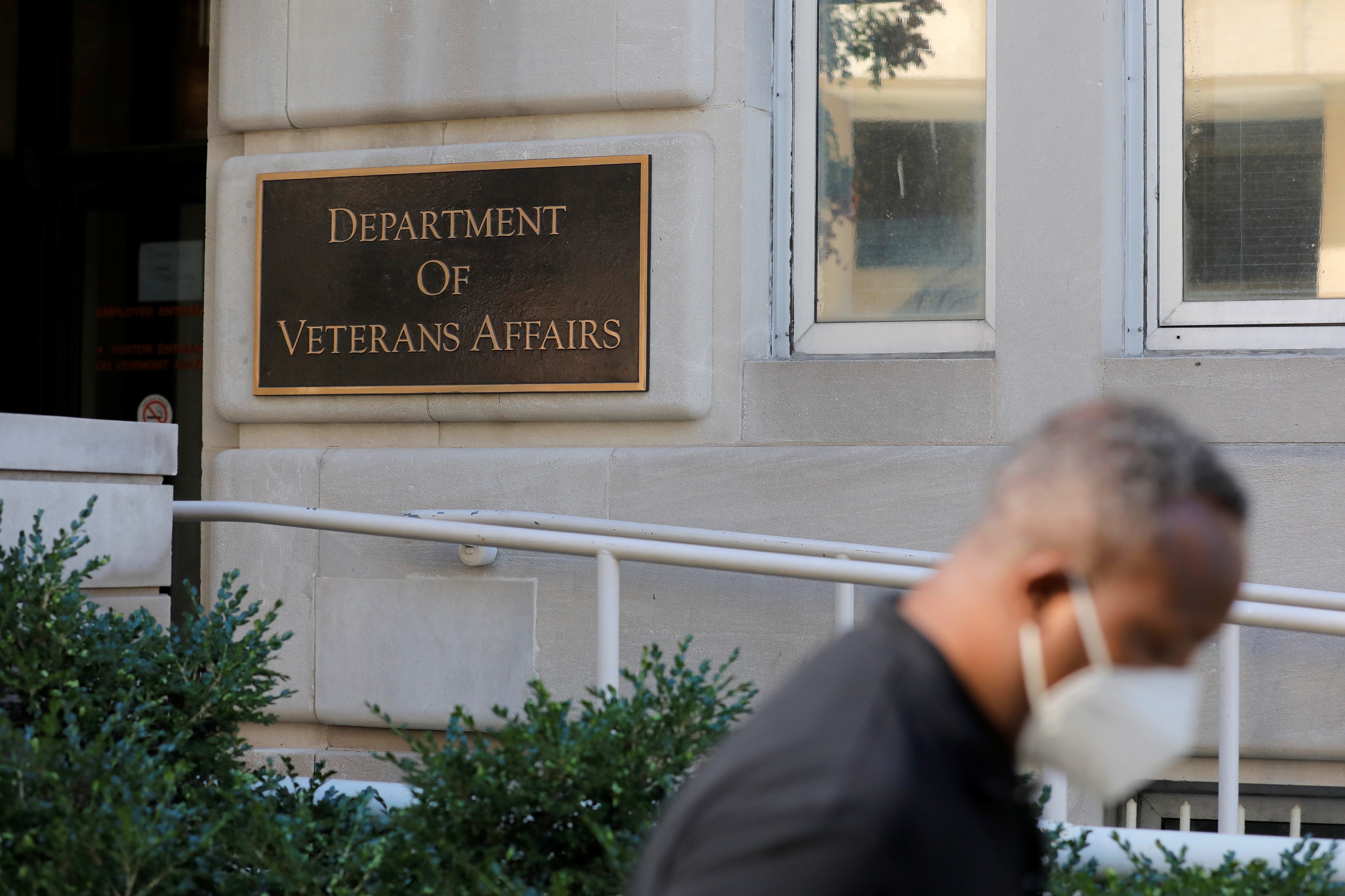 Signage is seen outside of the United States Department of Veterans Affairs in Washington, D.C., U.S., August 30, 2020. REUTERS/Andrew Kelly/File Photo