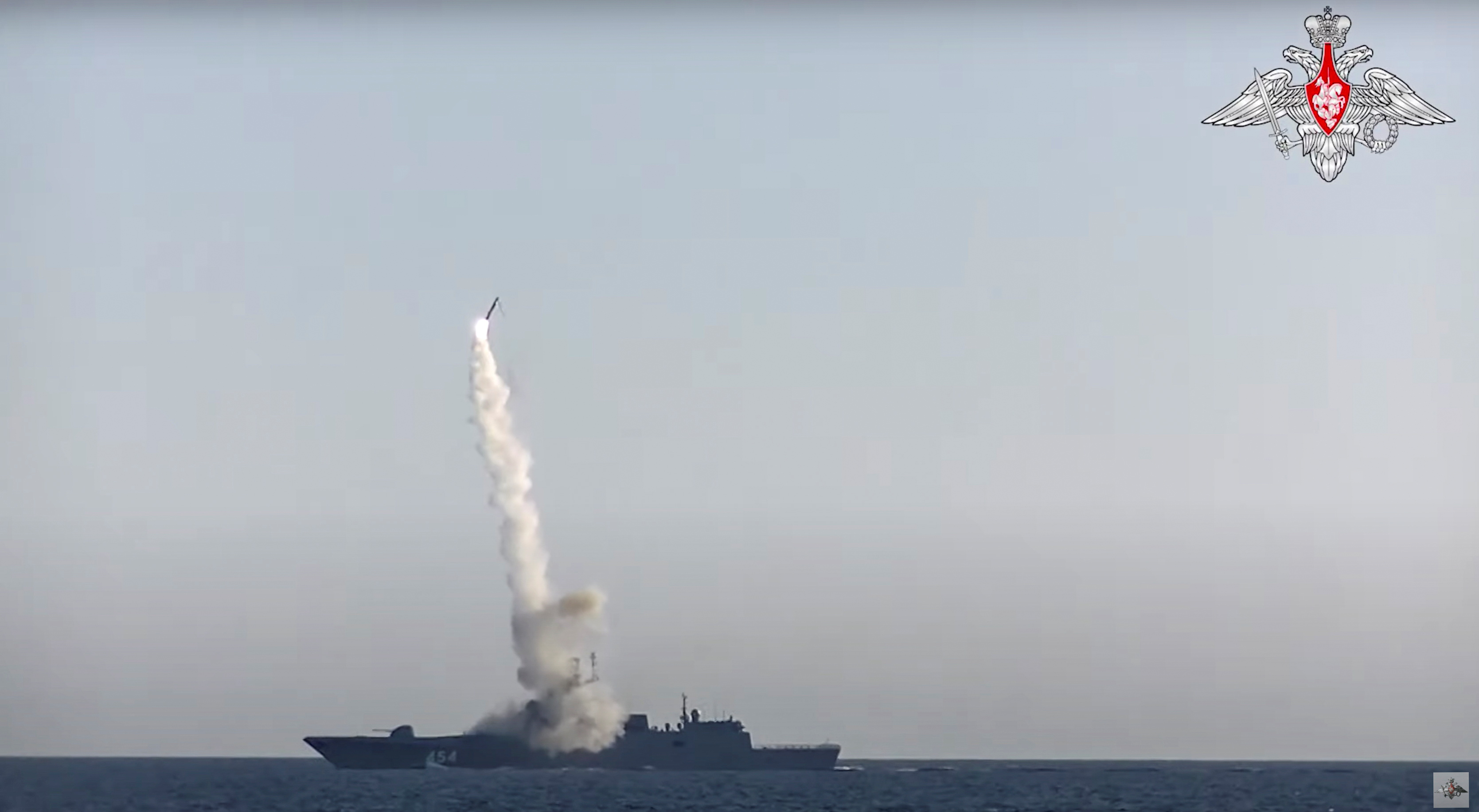 Tsirkon (Zircon) hypersonic cruise missile is fired from guided missile frigate Admiral Gorshkov in the White Sea in this still image taken from video released July 19, 2019.  Russian Defence Ministry/Handout via REUTERS