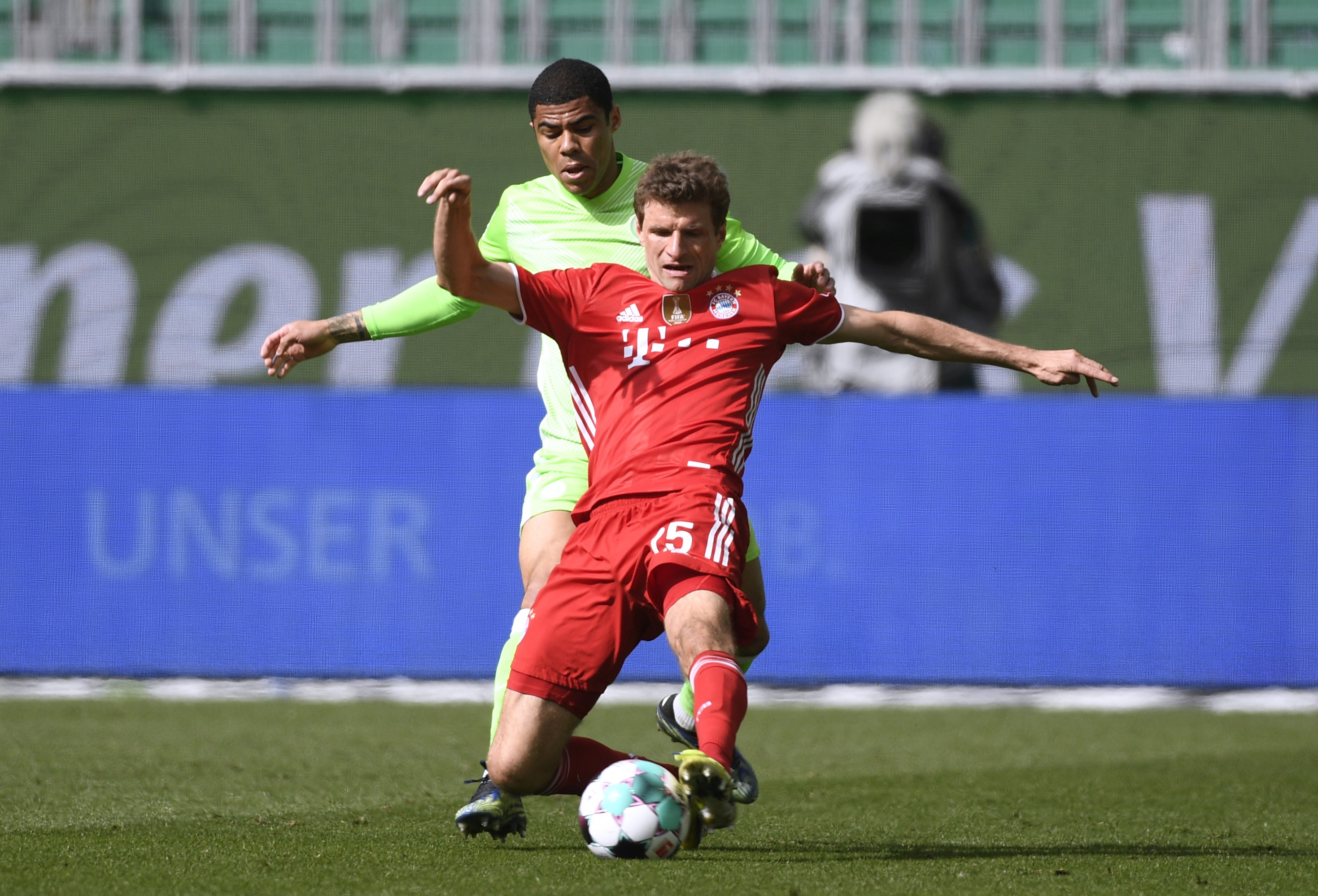 Soccer Football - Bundesliga - VfL Wolfsburg v Bayern Munich - Volkswagen Arena, Wolfsburg, Germany - April 17, 2021  Bayern Munich's Thomas Muller Pool via REUTERS/Fabian Bimmer DFL regulations prohibit any use of photographs as image sequences and/or quasi-video.