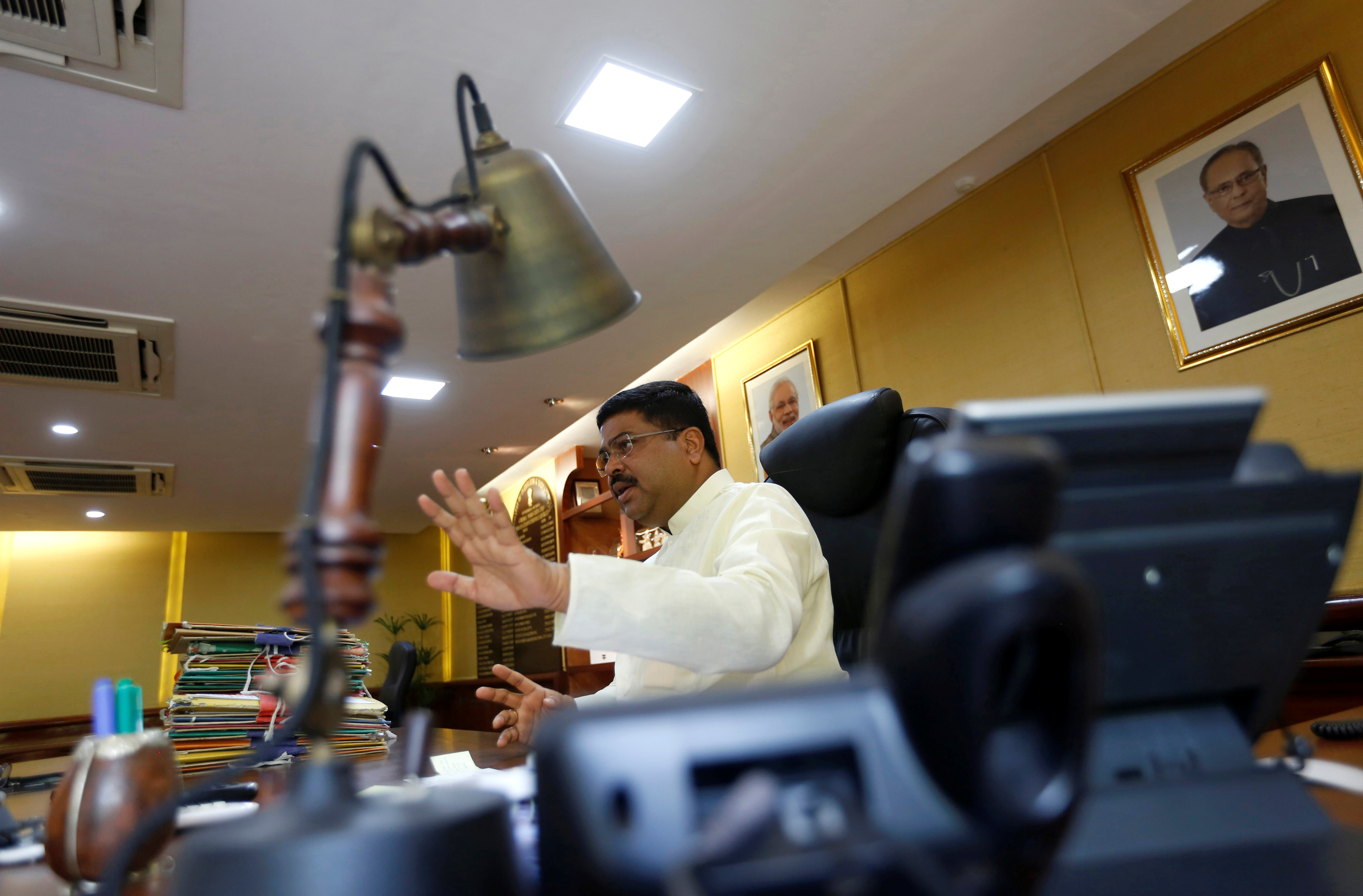 India's Oil Minister Dharmendra Pradhan speaks during an interview with Reuters in New Delhi, India, May 5, 2016. To match Interview INDIA-ENERGY/ REUTERS/Adnan Abidi
