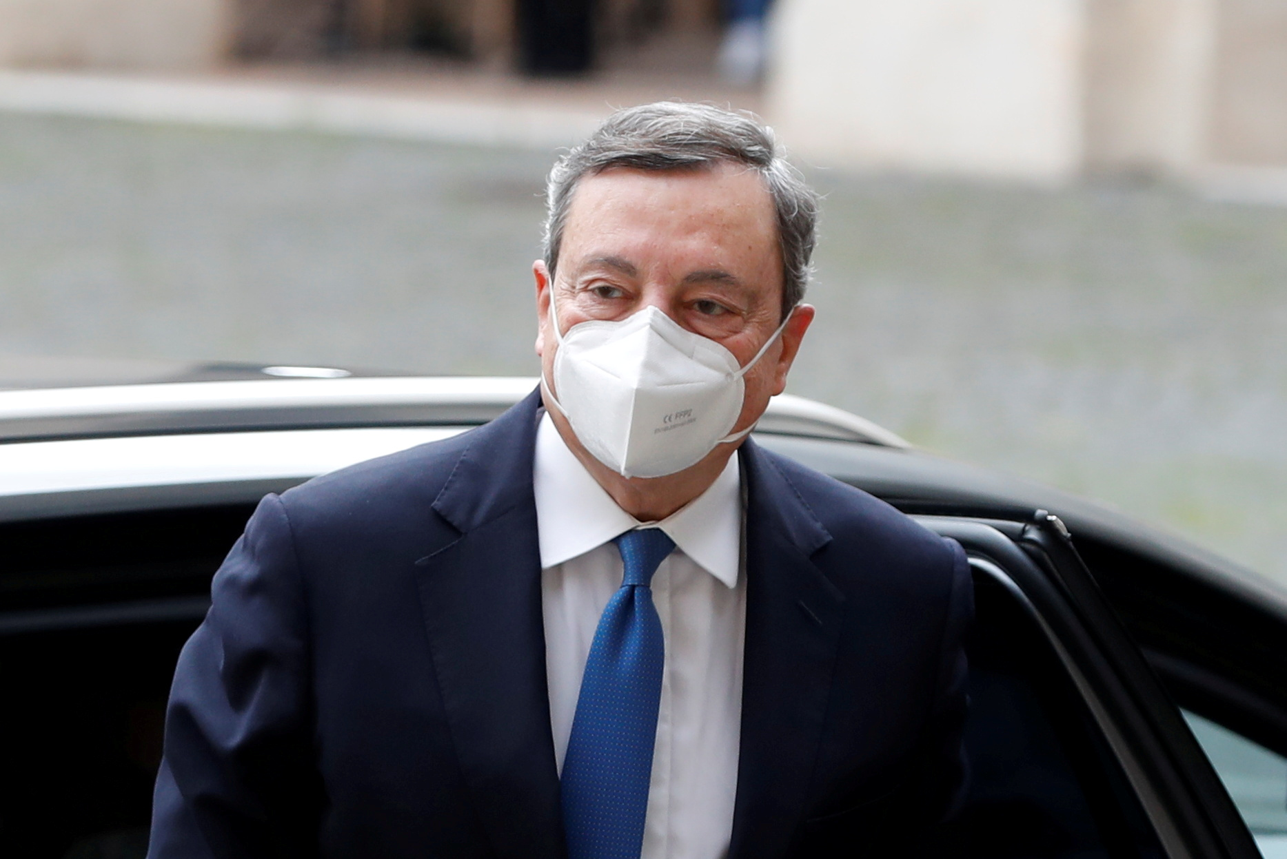 Former European Central Bank President Mario Draghi arrives for a meeting with Italian President Sergio Mattarella at the Quirinale Palace in Rome, Italy February 3, 2021. REUTERS/Yara Nardi/File Photo