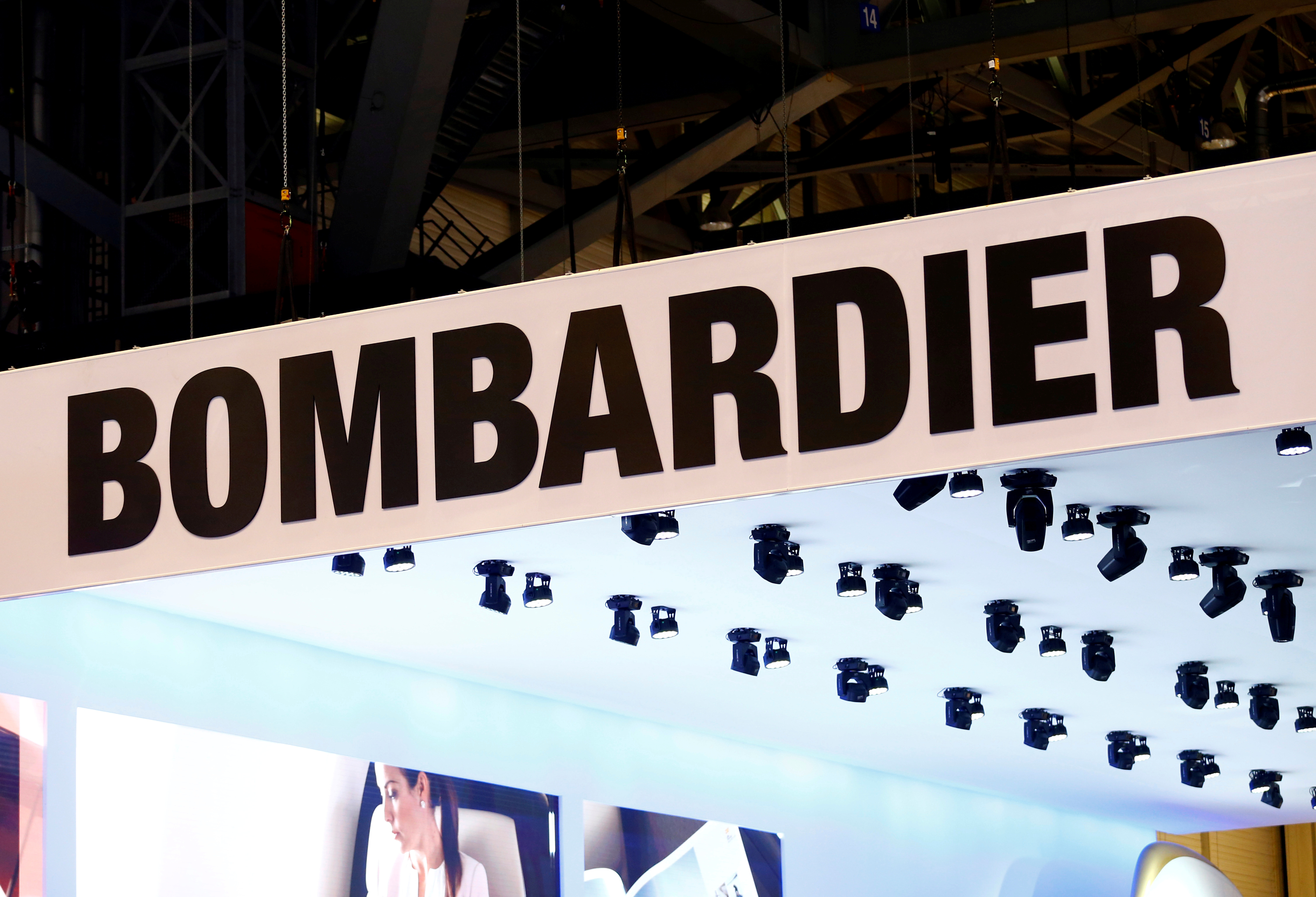A logo of jet manufacturer Bombardier is pictured on their booth during the European Business Aviation Convention & Exhibition (EBACE) in Geneva, Switzerland, May 22, 2017.  REUTERS/Denis Balibouse/File Photo