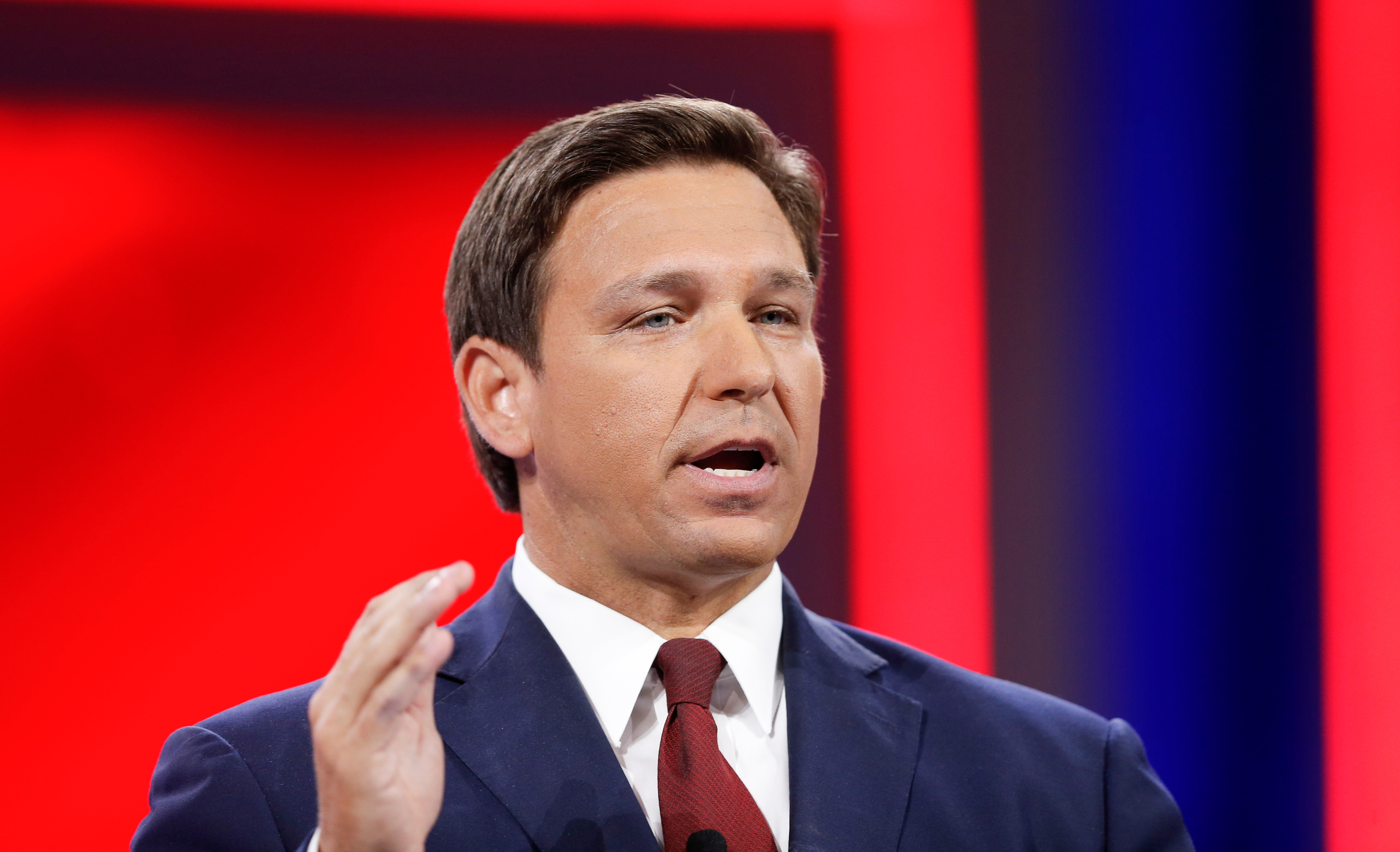 Florida Gov. Ron DeSantis speaks during the welcome segment of the Conservative Political Action Conference (CPAC) in Orlando, Florida, U.S. February 26, 2021. REUTERS/Joe Skipper