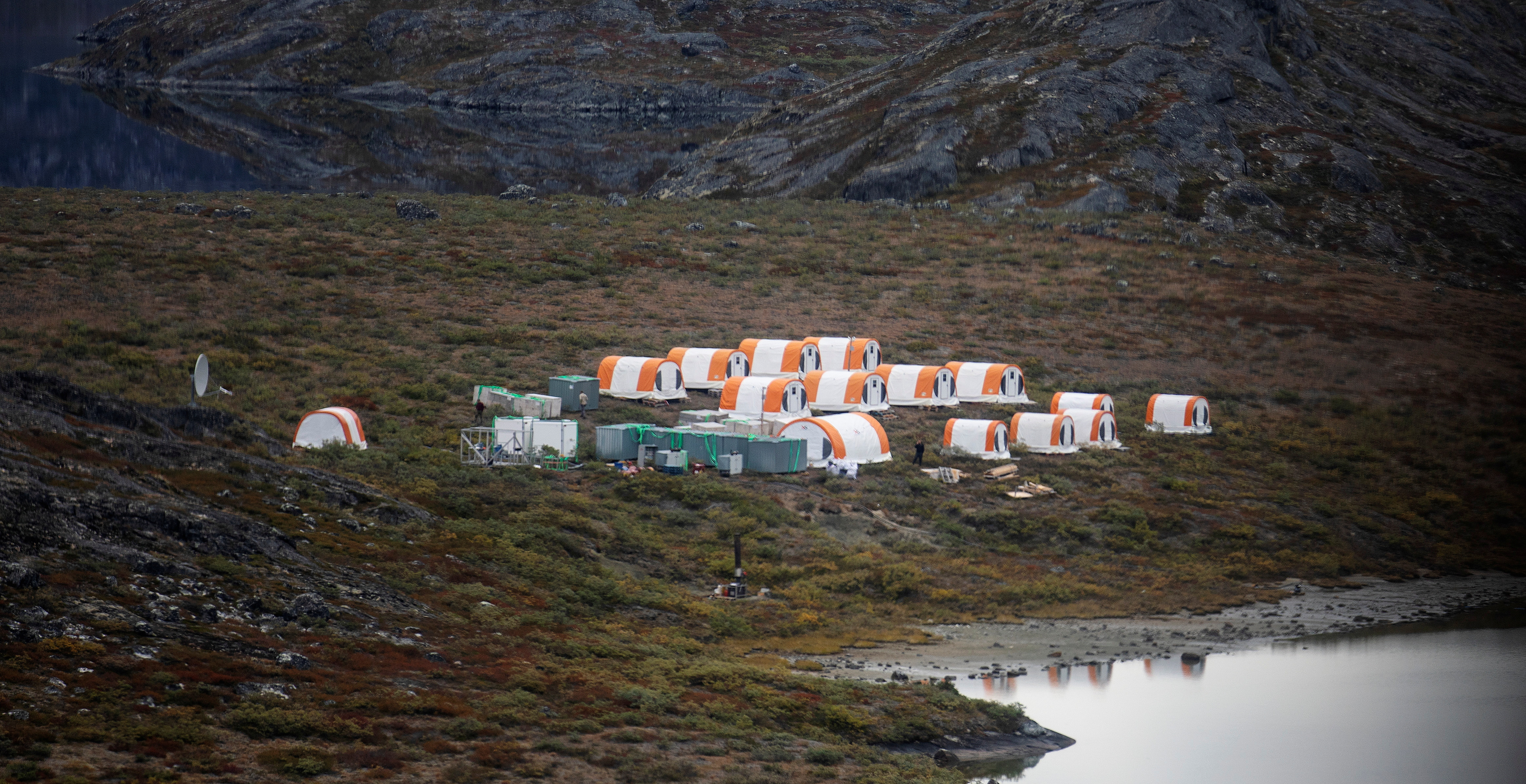 The camp of an exploration site of an anorthosite deposit is pictured close to the Qeqertarsuatsiaat fjord, Greenland, September 11, 2021. Picture taken September 11, 2021.   REUTERS/Hannibal Hanschke