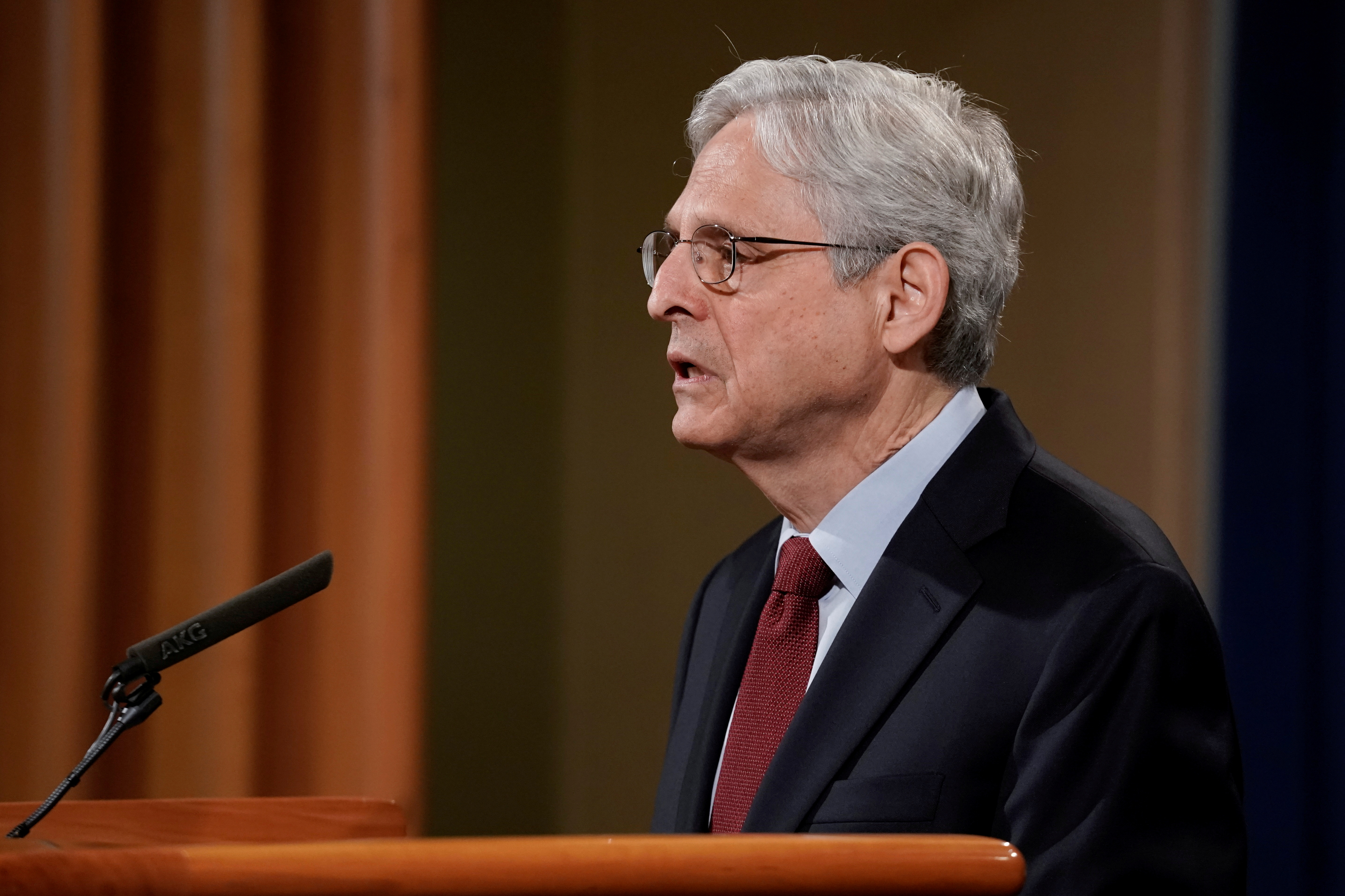 U.S. Attorney General Merrick Garland announces that the Justice Department will file a lawsuit challenging a Georgia election law that imposes new limits on voting, during a news conference at the Department of Justice in Washington, D.C., U.S., June 25, 2021. REUTERS/Ken Cedeno/File Photo