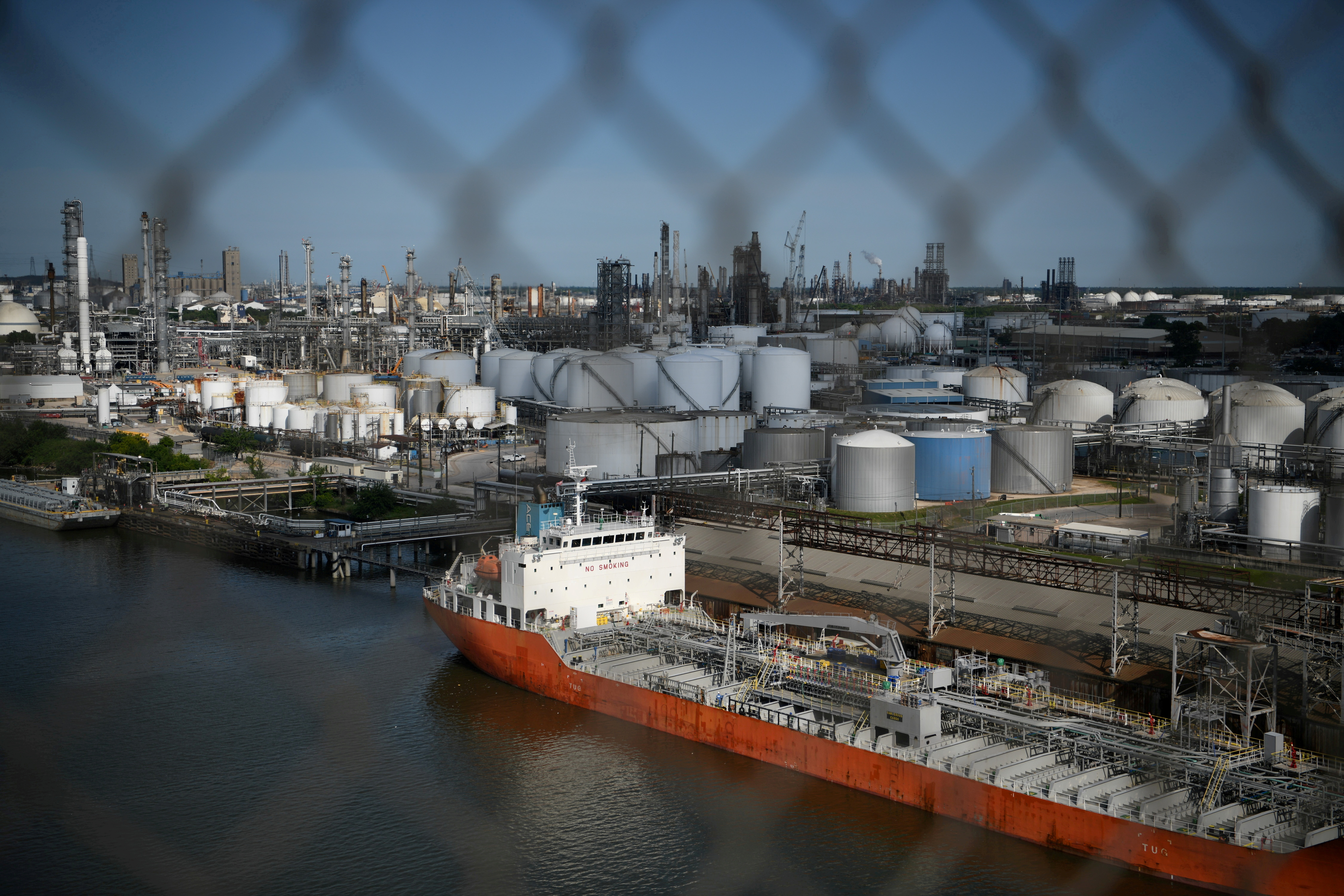 The Houston Ship Channel and adjacent refineries, part of the Port of Houston, are seen in Houston, Texas, U.S., May 5, 2019.  REUTERS/Loren Elliott