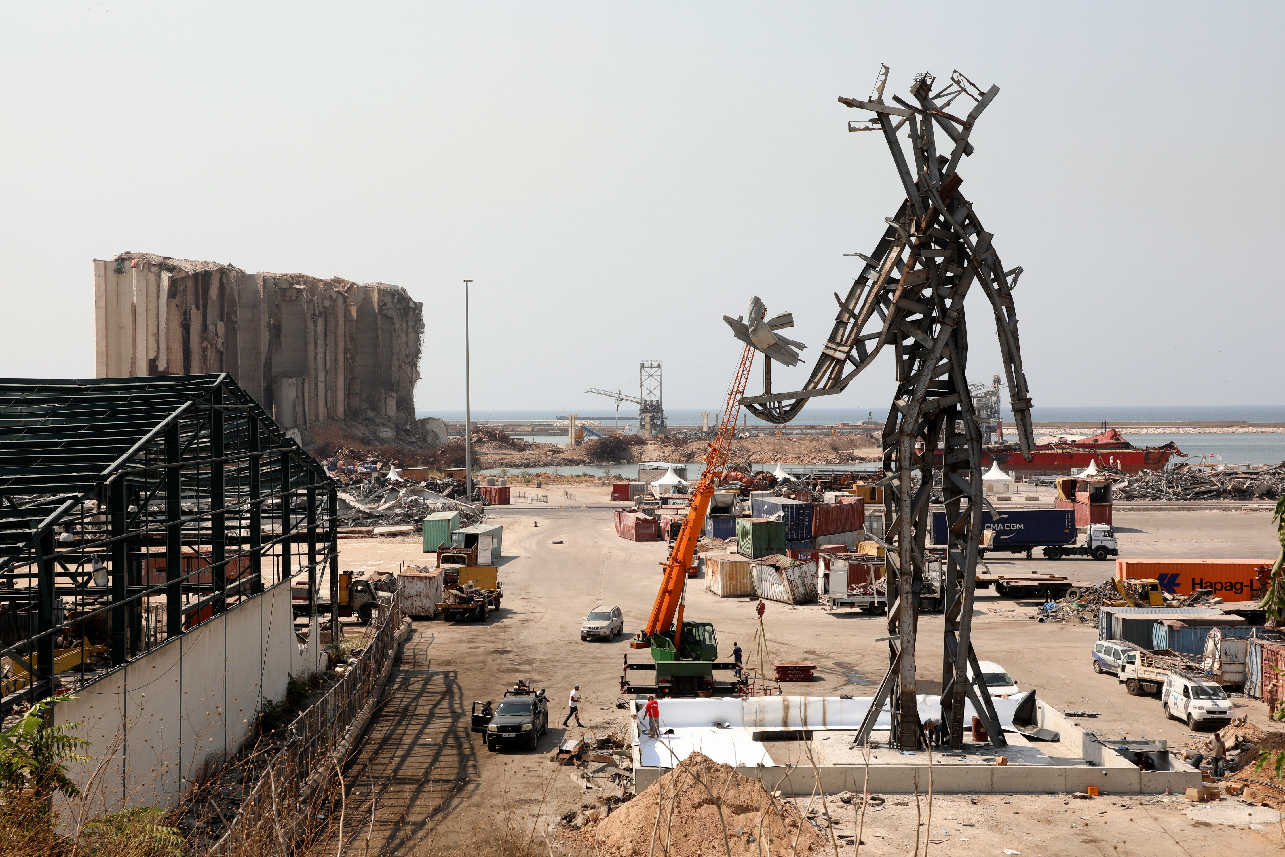 The Gesture, a 25-meter sculpture by Lebanese architect Nadim Karam to commemorate victims of last year's Beirut blast, is seen at the capital's port in Lebanon, July 30, 2021. REUTERS/Mohamed Azakir