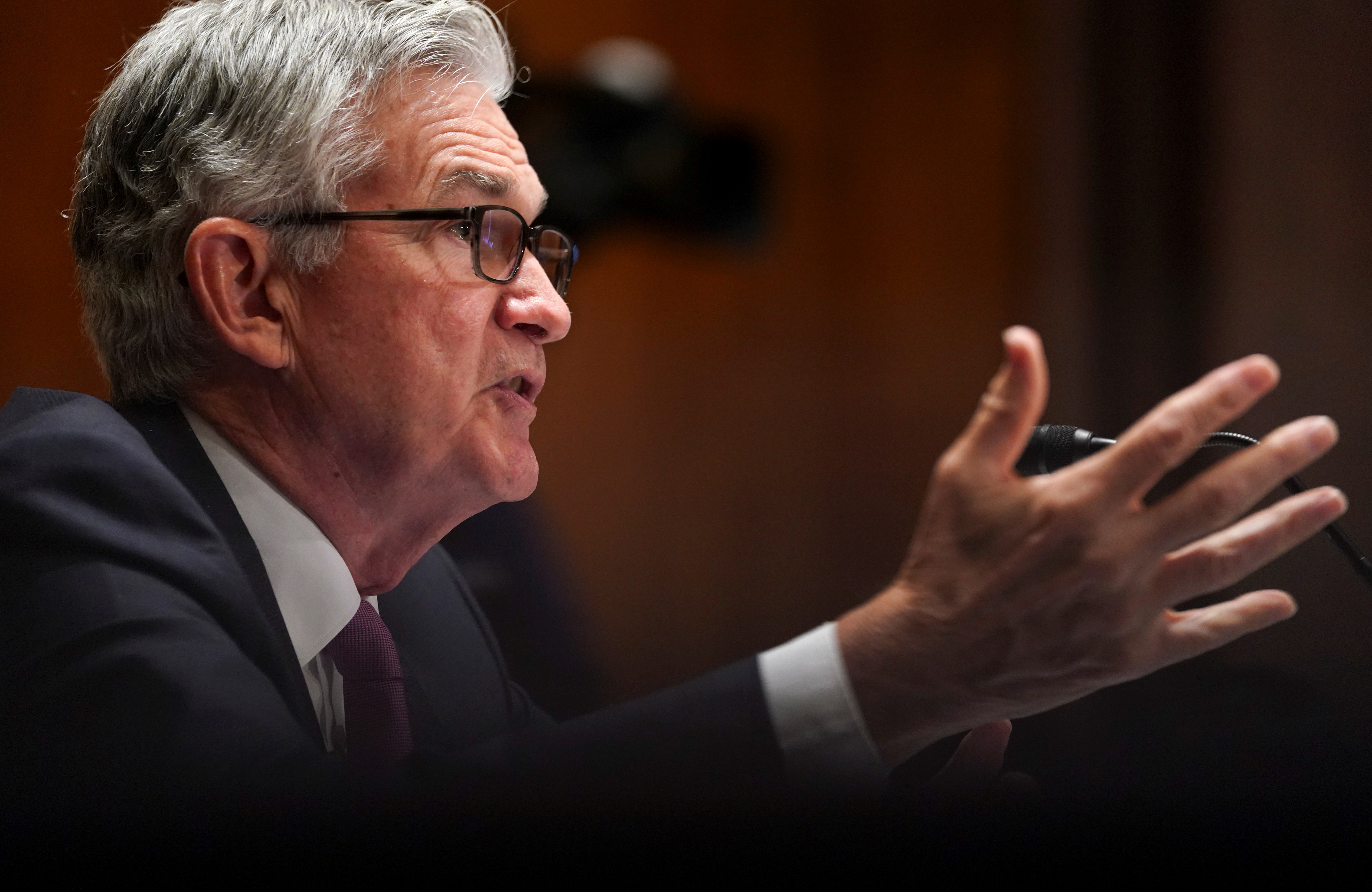 Federal Reserve Chair Jerome Powell testifies before a Senate Banking, Housing and Urban Affairs Committee hearing on