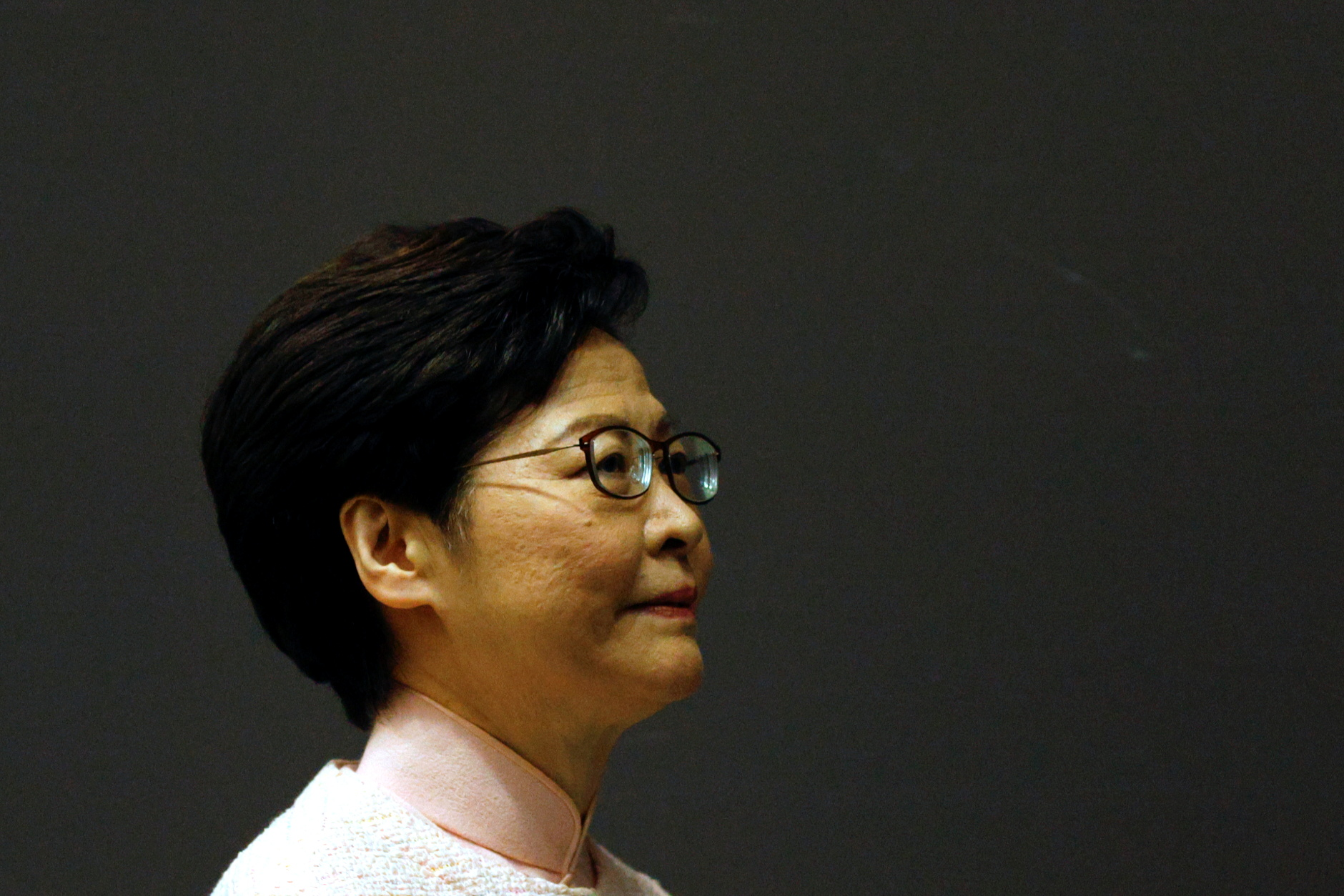 Hong Kong Chief Executive Carrie Lam attends a news conference to announce the replacement of the Police Chief and Security Secretary, in Hong Kong, China June 25, 2021. REUTERS/Tyrone Siu