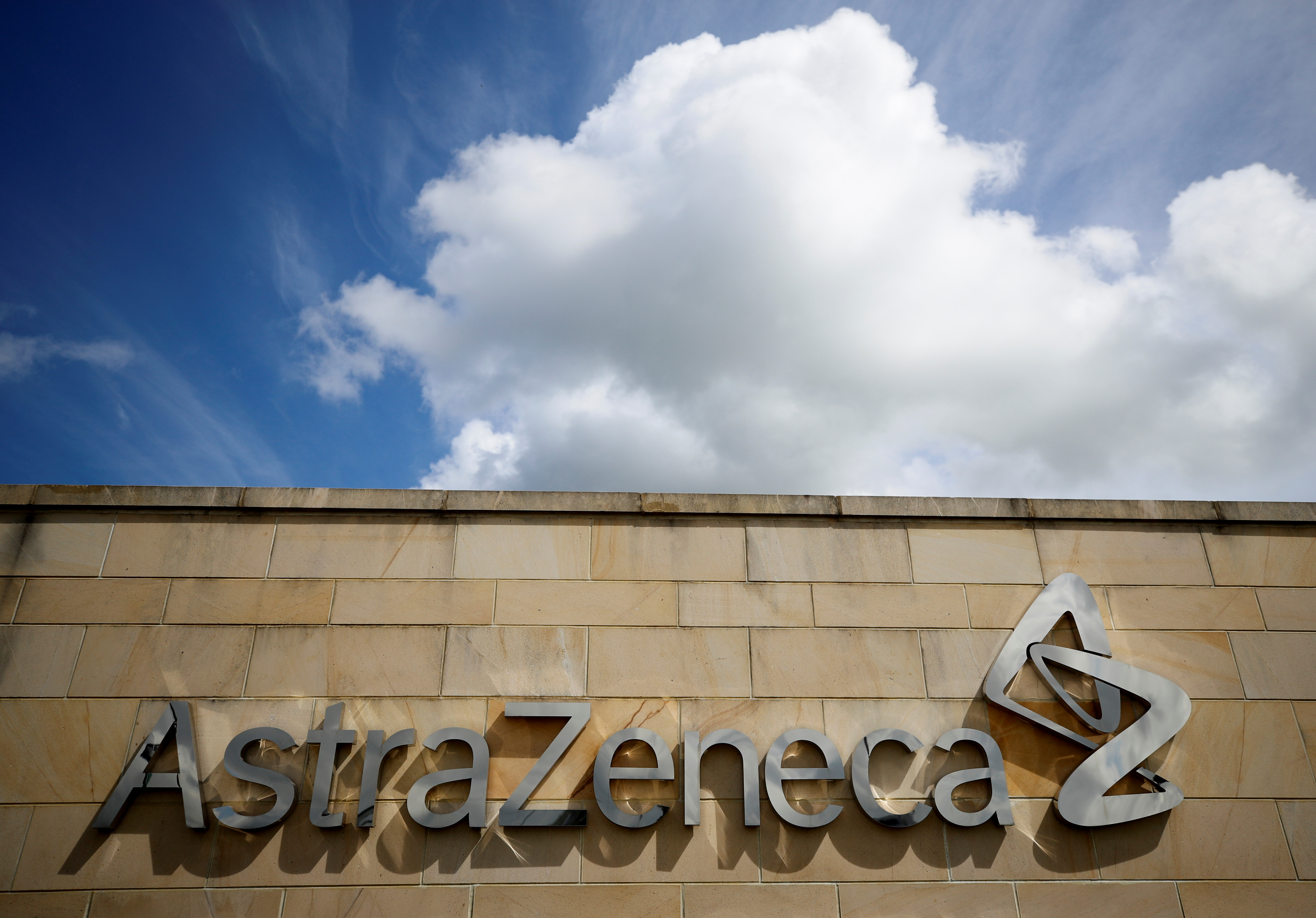 A company logo is seen at the AstraZeneca site in Macclesfield, Britain, May 11, 2021. REUTERS/Phil Noble