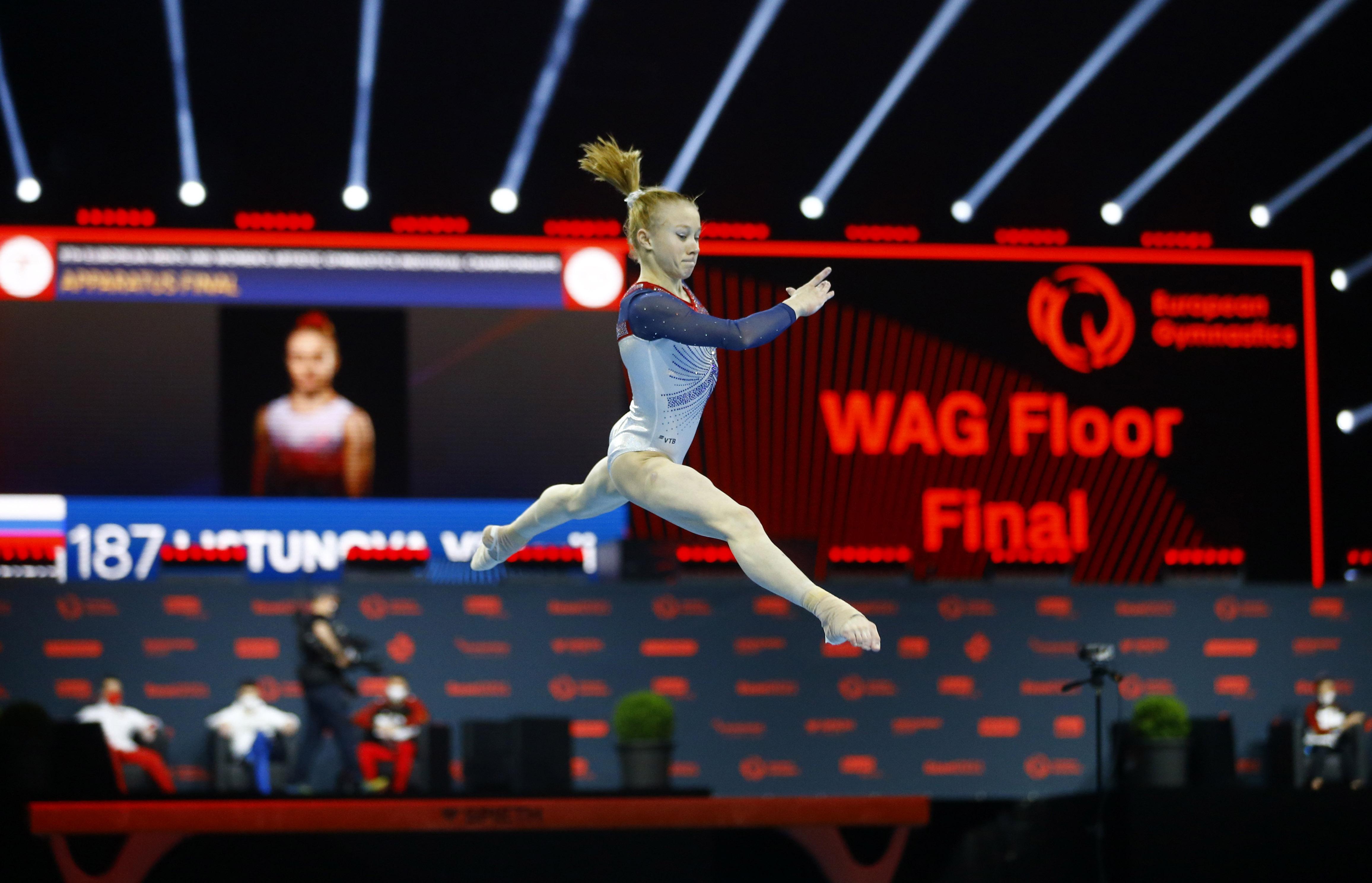 Gymnastics - 2021 European Artistic Gymnastics Championships - St. Jakobshalle, Basel, Switzerland - April 25, 2021 Russia's Viktoria Listunova in action during the women's all-round floor REUTERS/Arnd Wiegmann/File Photo