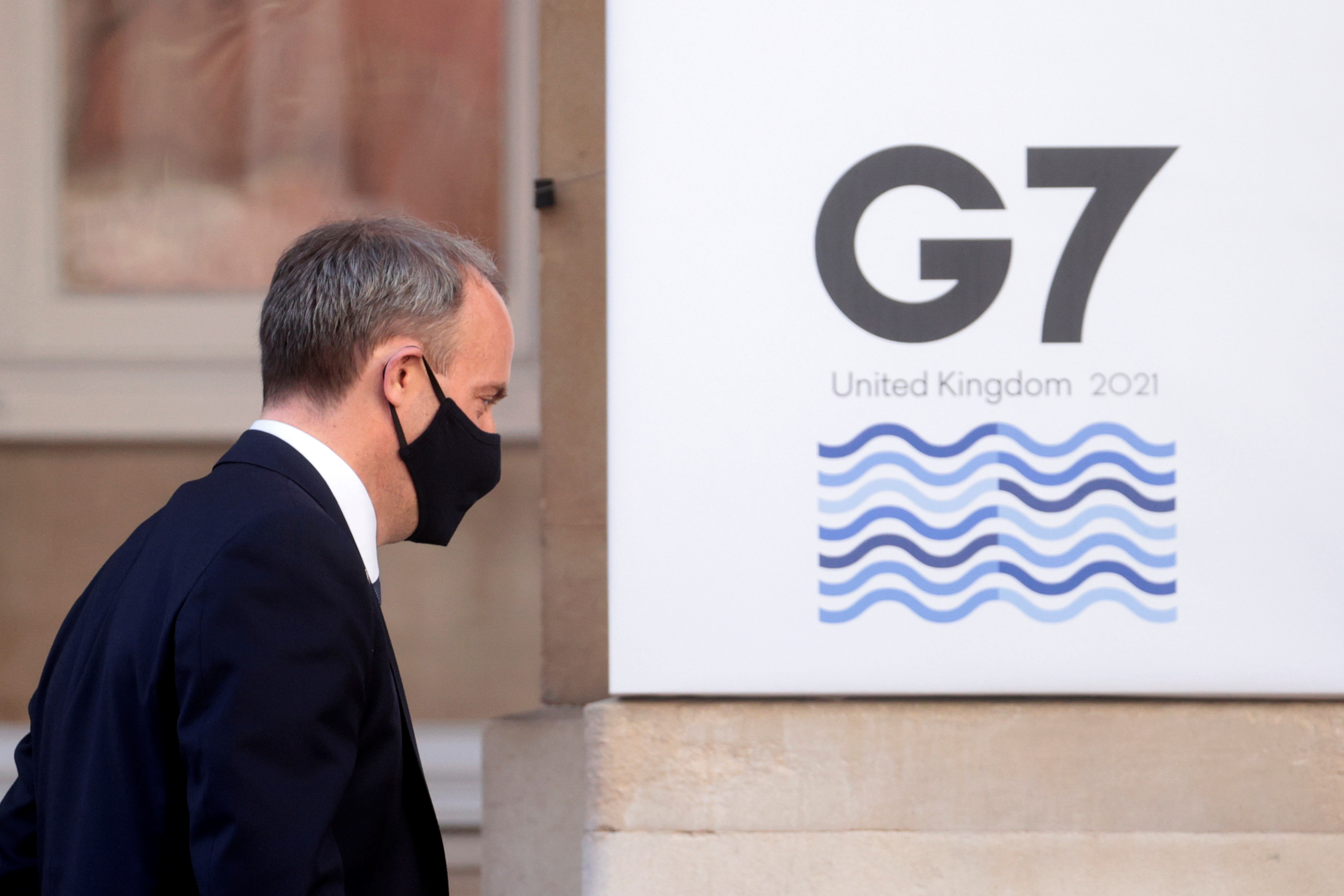 Britain's Foreign Secretary Dominic Raab arrives as G7 foreign ministers meet at Lancaster House in London, Britain, May 5, 2021. REUTERS/Hannah McKay/Pool