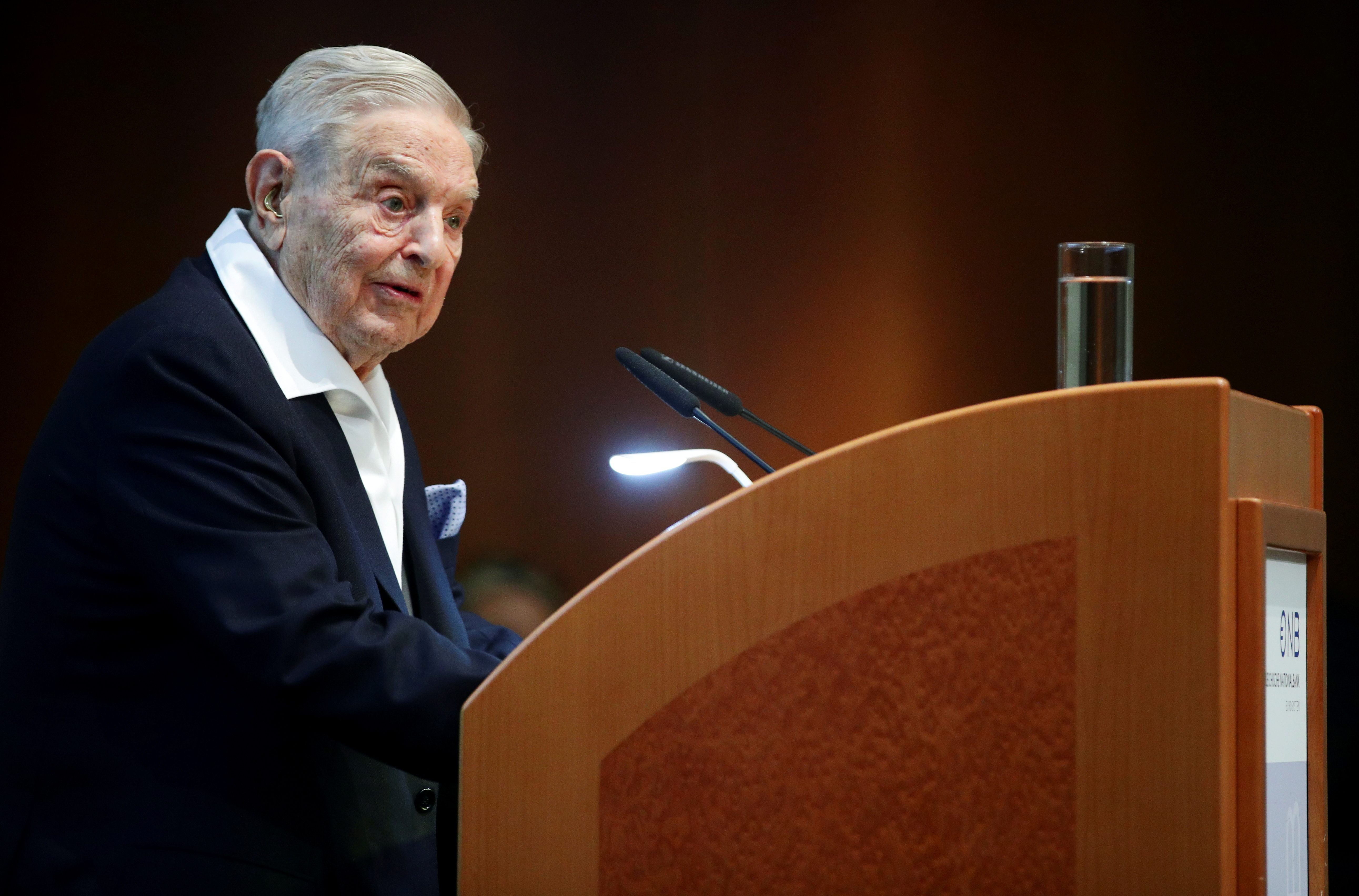 FILE PHOTO: Billionaire investor George Soros speaks to the audience at the Schumpeter Award in Vienna, Austria June 21, 2019. REUTERS/Lisi Niesner/File Photo/File Photo