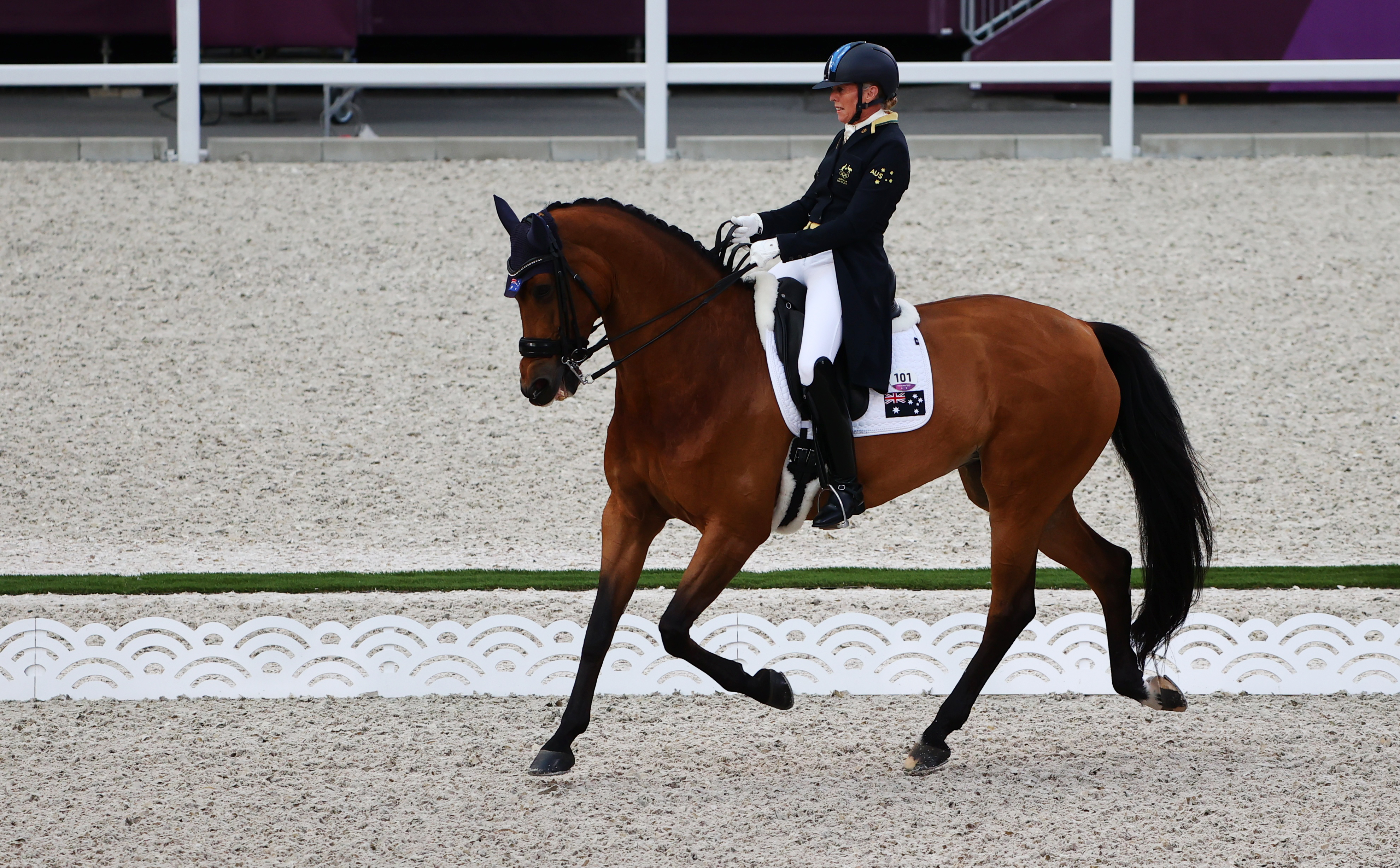 Tokyo 2020 Olympics - Dressage - Individual - Grand Prix - Day 1 - Groups A/B/C - Equestrian Park - Tokyo, Japan - July 24, 2021. Mary Hanna of Australia on her horse Calanta competes. REUTERS/Alkis Konstantinidis