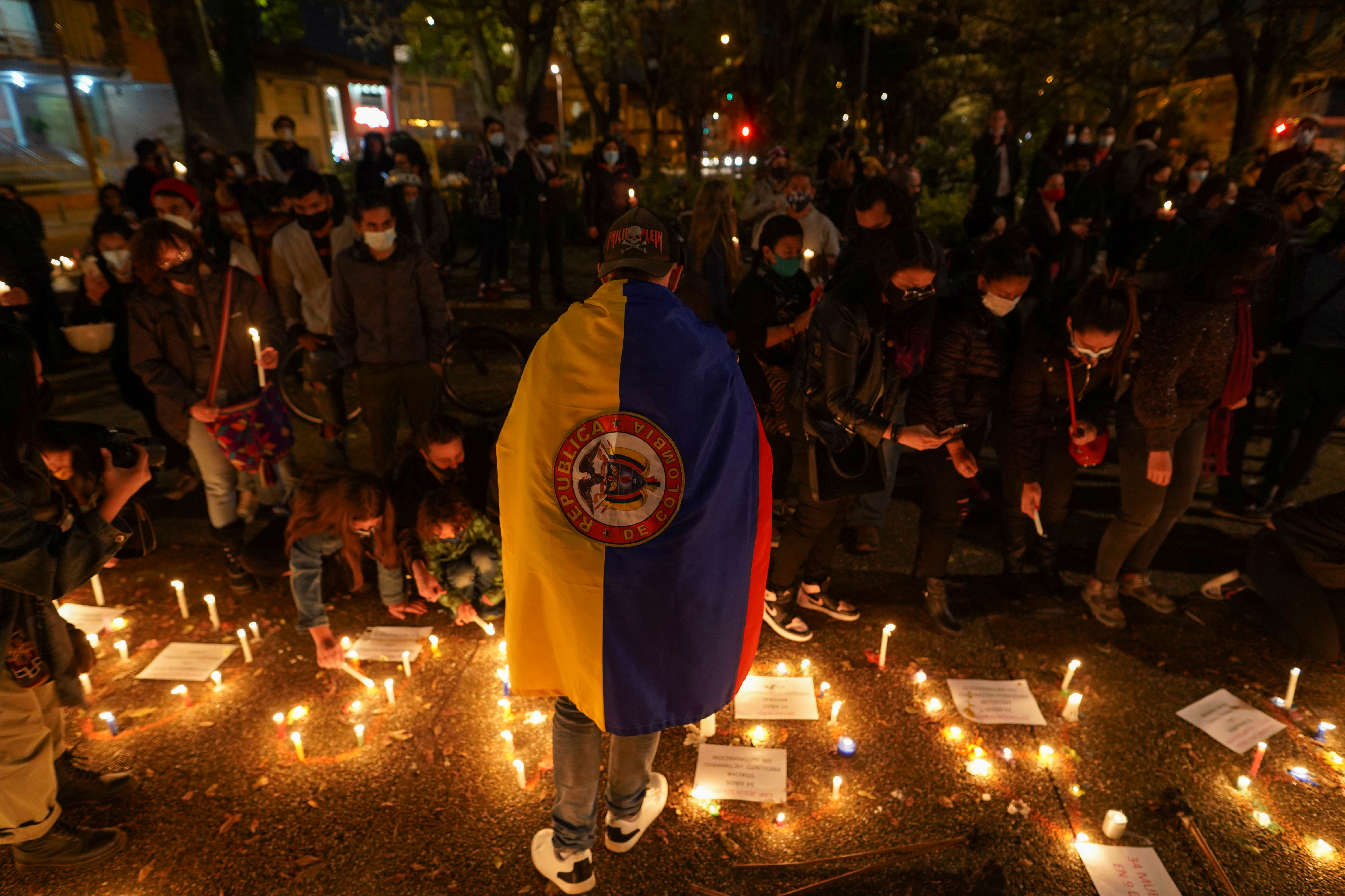 Demonstrators take part in a protest demanding government action to tackle poverty, police violence and inequalities in the health and education systems, in Bogota, Colombia May 6, 2021.  REUTERS/Nathalia Angarita