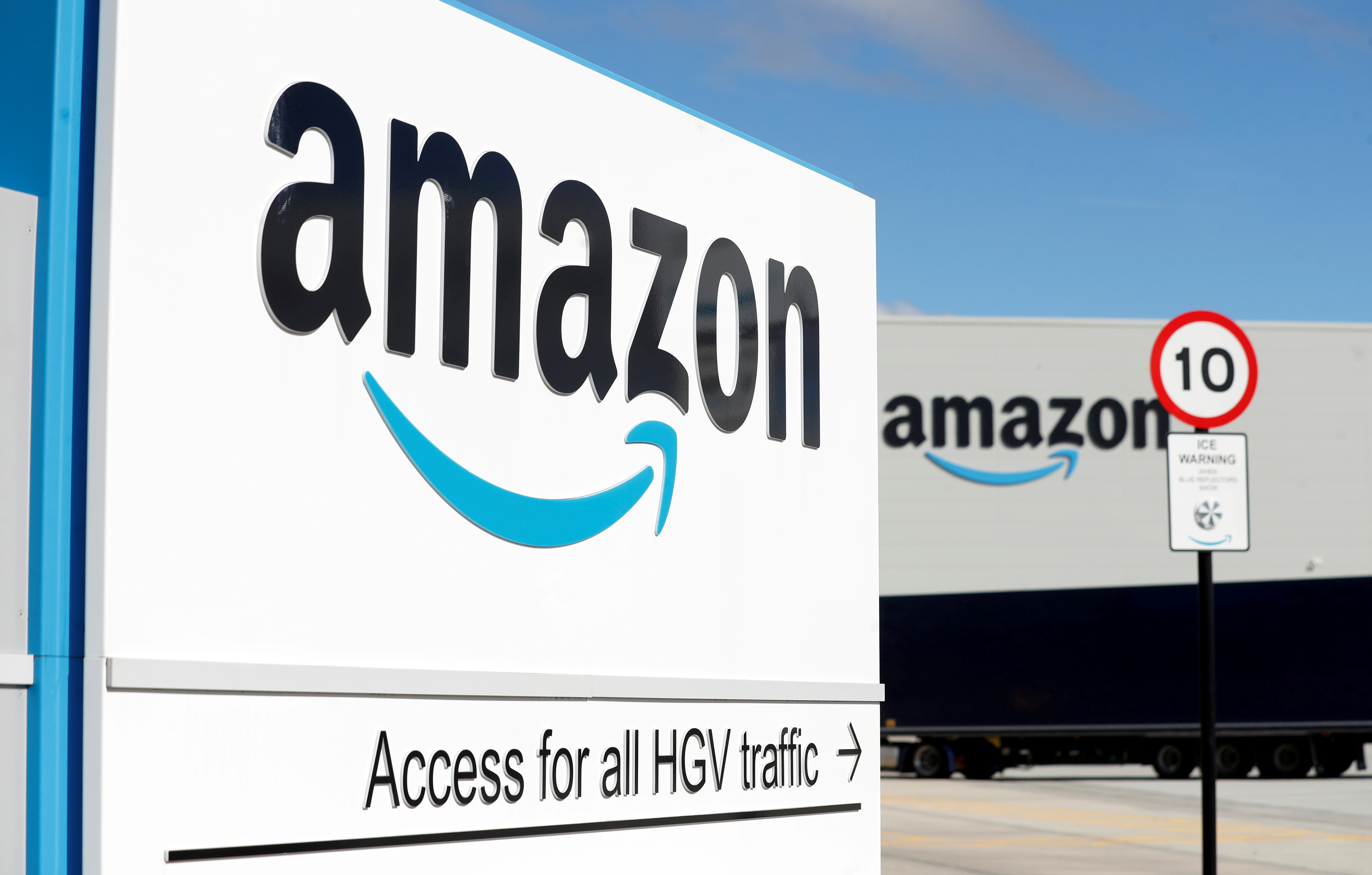 An Amazon logo is seen at its centre in Darlington, County Durham, Britain September 3, 2020. REUTERS/Lee Smith/File Photo