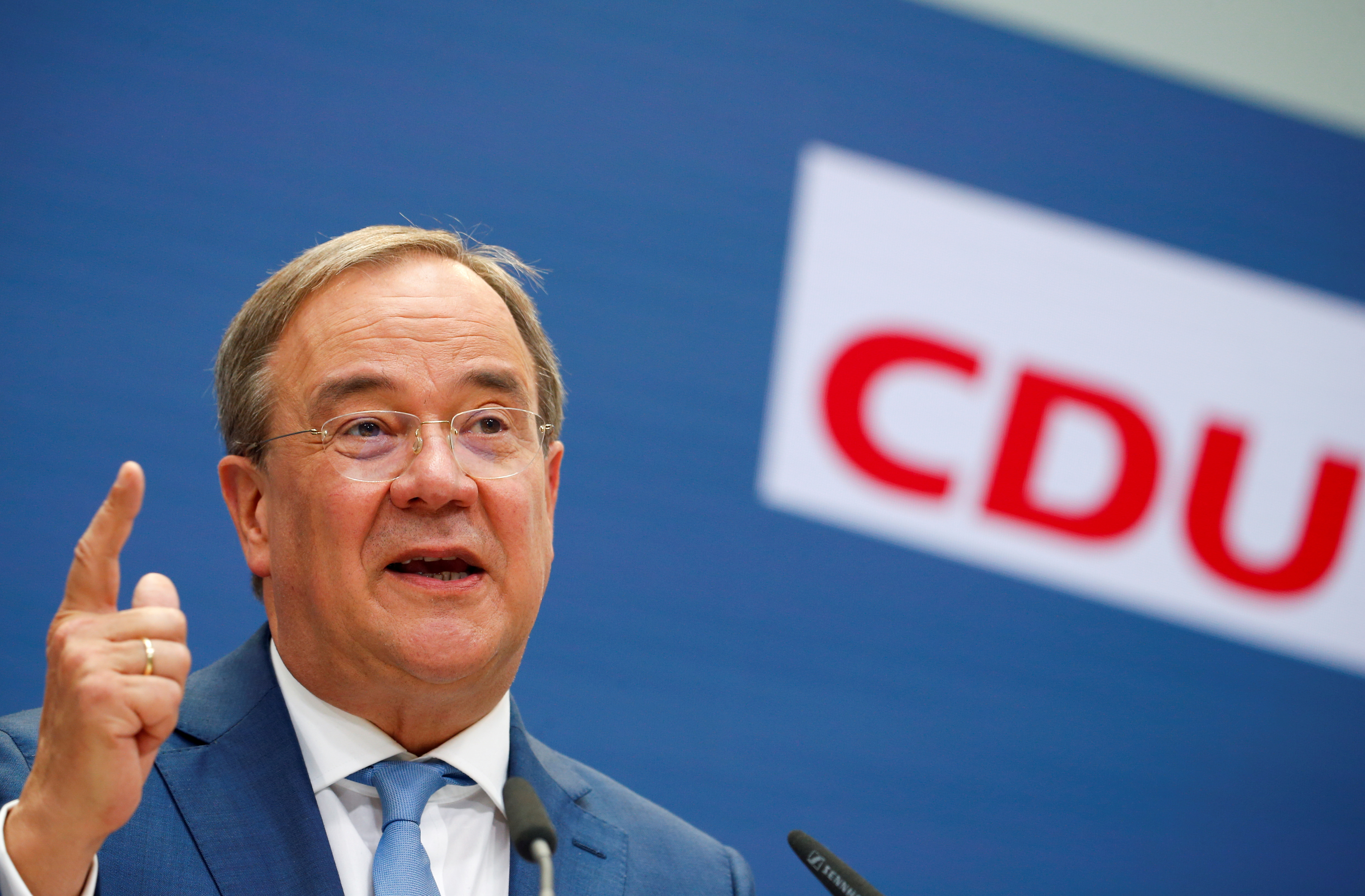 Christian Democratic Union (CDU) candidate for chancellor Armin Laschet holds a news conference in Berlin, Germany, September 13, 2021. REUTERS/Michele Tantussi/File Photo