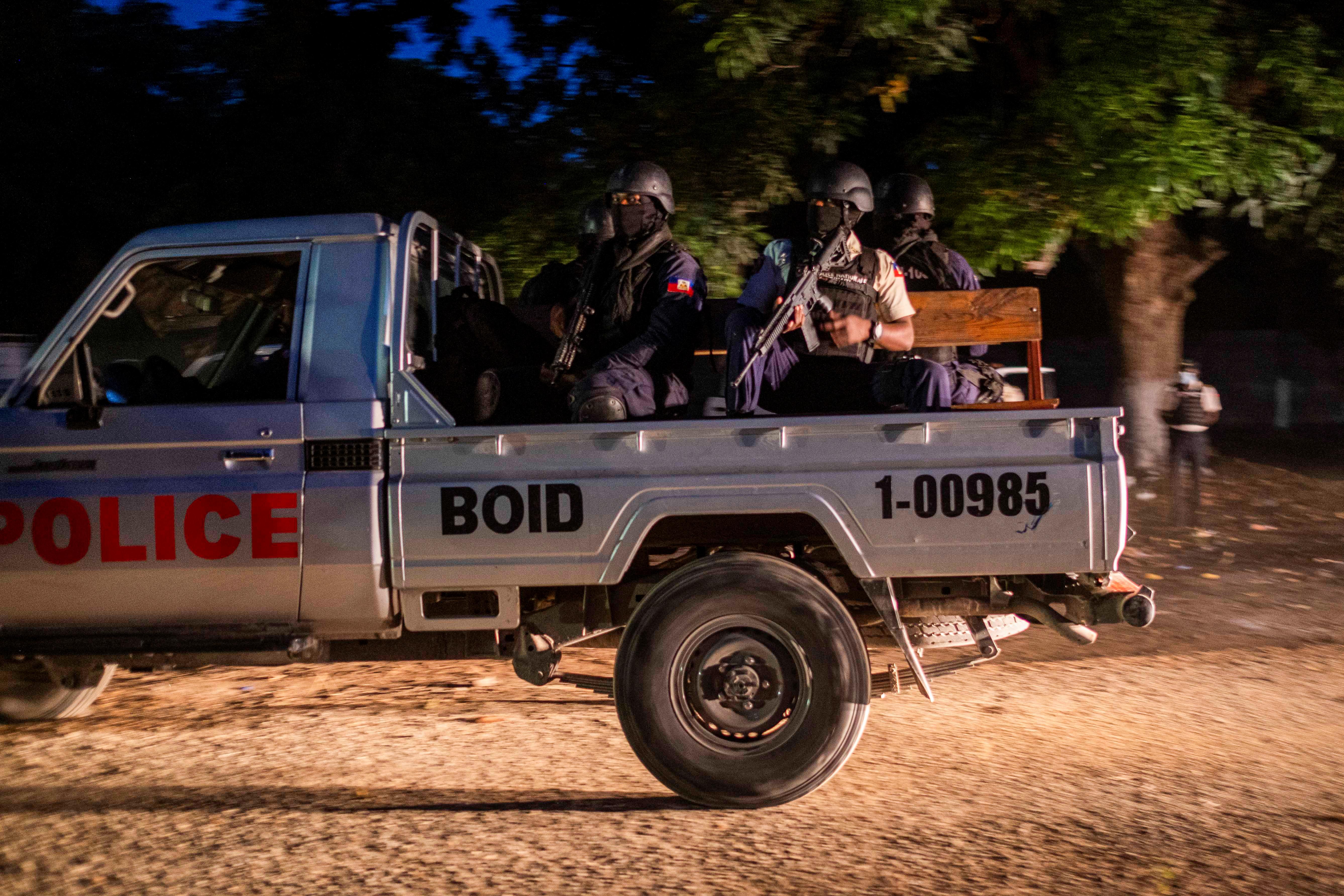 Haitian National Police patrols during the final preparations for funeral of slain Haitian President Jovenel Moise in Cap-Haitien, Haiti, July 23, 2021. REUTERS/Ricardo Arduengo
