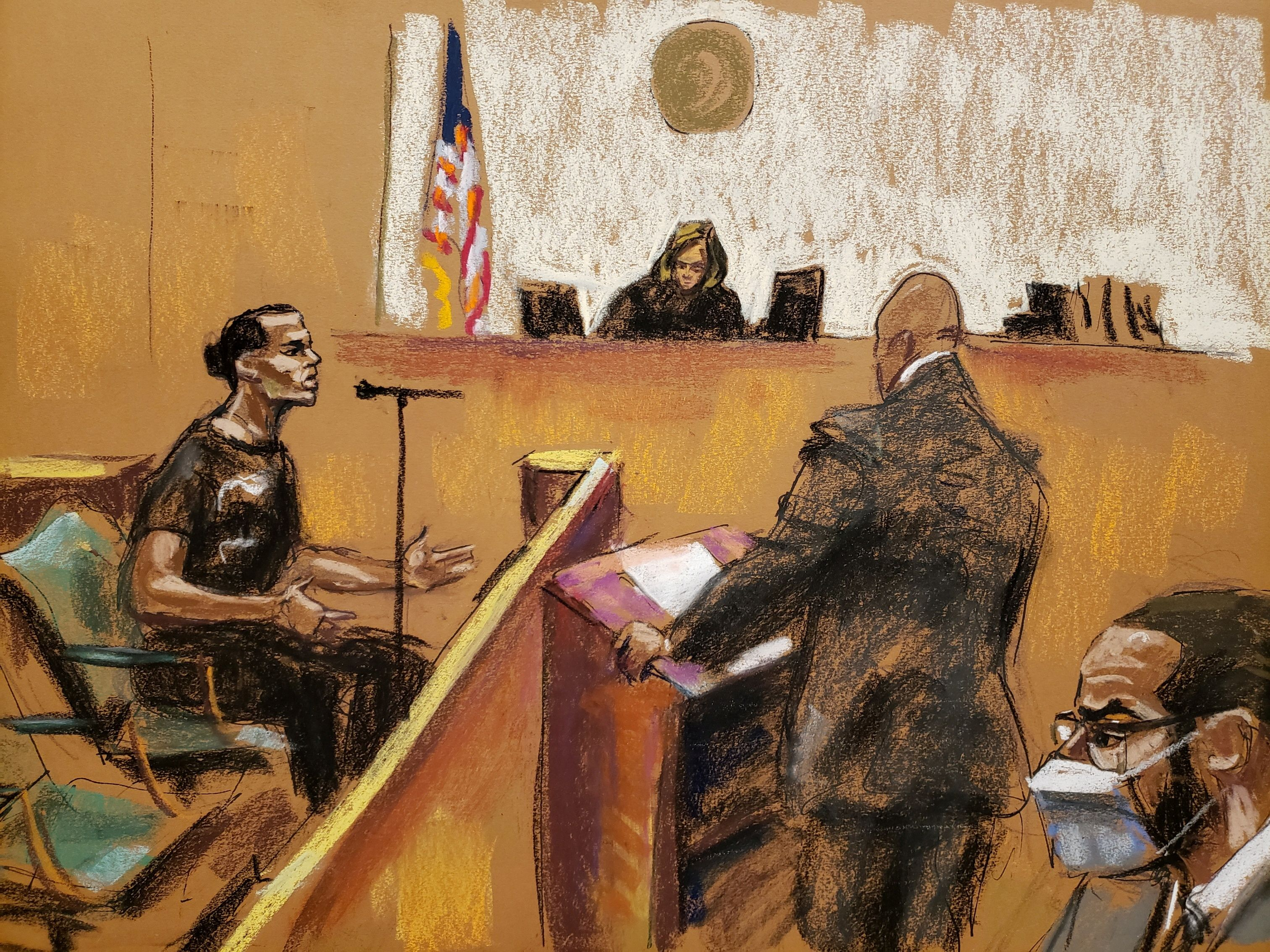 Defense attorney Calvin Scholar questions witness Dhanai Ramnaran at R. Kelly's sex abuse trial at Brooklyn's Federal District Court in a courtroom sketch in New York, U.S., September 20, 2021. REUTERS/Jane Rosenberg
