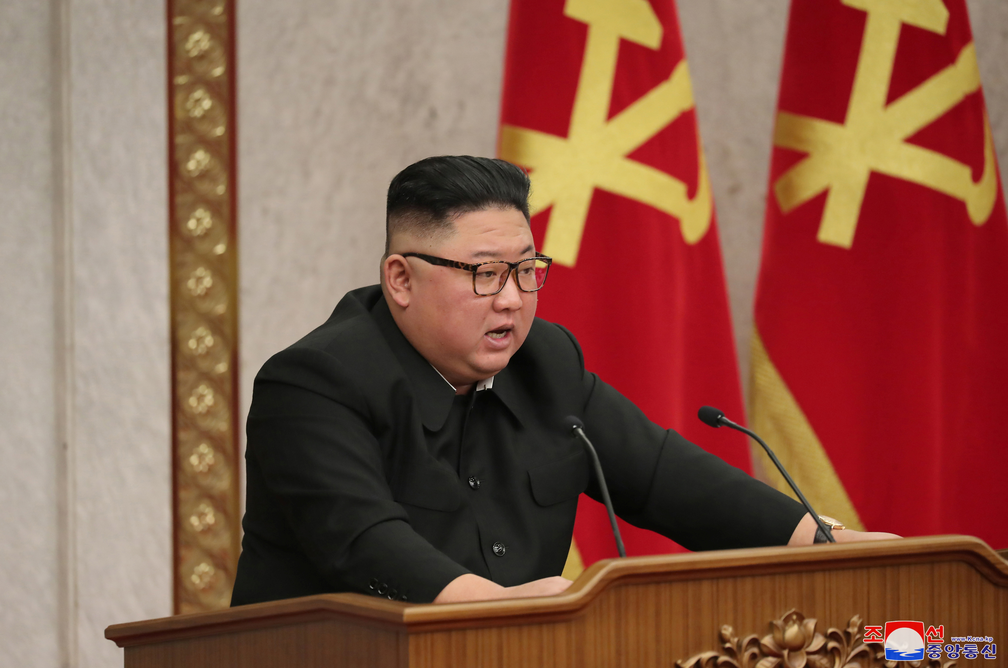 North Korean leader Kim Jong Un attends a plenary meeting of the Workers' Party central committee in Pyongyang, North Korea in this photo supplied by North Korea's Central News Agency (KCNA) on February 10, 2021.    KCNA via REUTERS