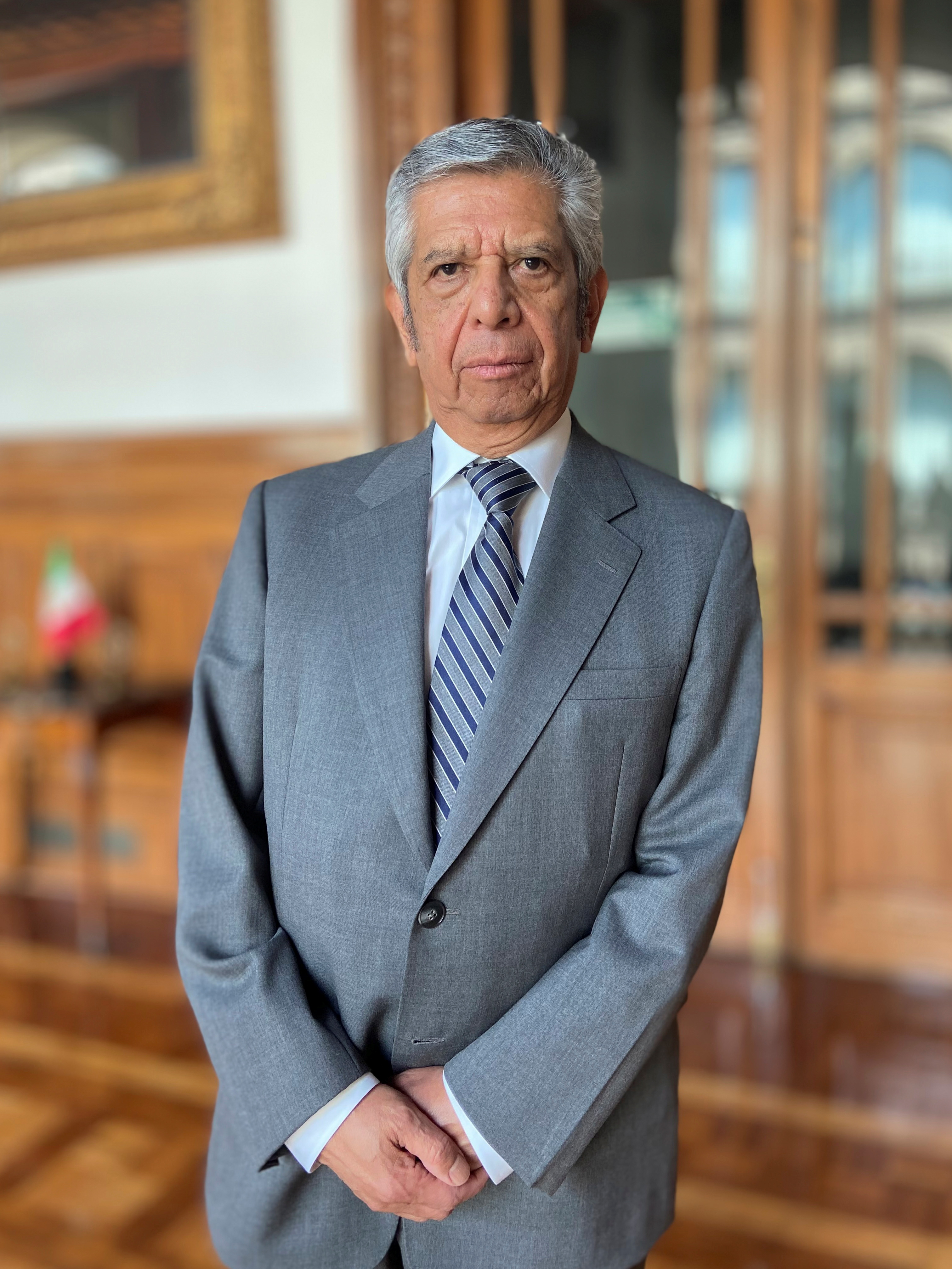 Newly appointed head of the Public Administration Ministry (SFP) Roberto Saucedo poses for a photo at the National Palace in Mexico City, Mexico June 21, 2021. Mexico's Presidency/Handout via REUTERS