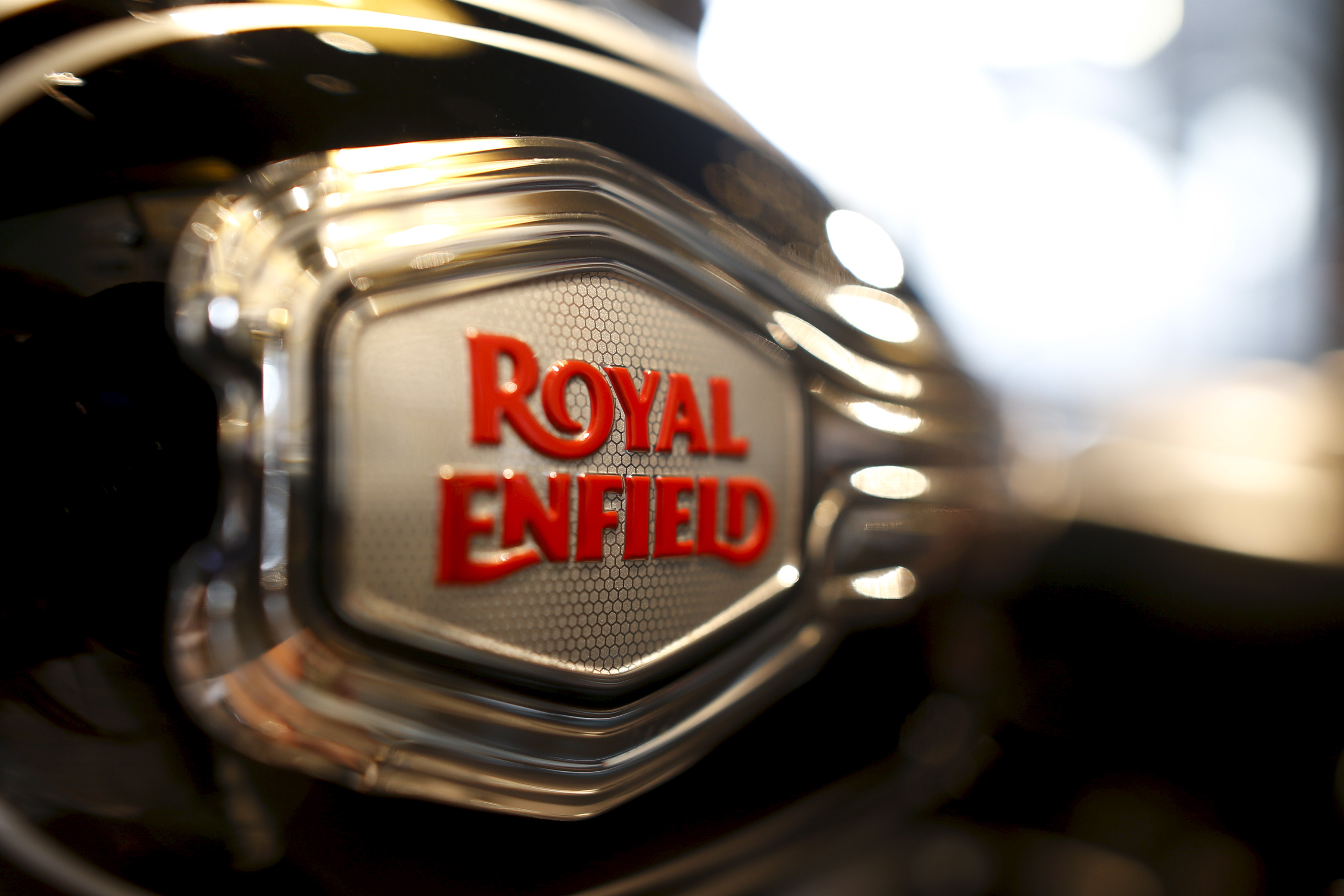 The logo of Royal Enfield is pictured on a bike at Royal Enfield's flagship shore in Bangkok, Thailand, February 24, 2016. REUTERS/Athit Perawongmetha