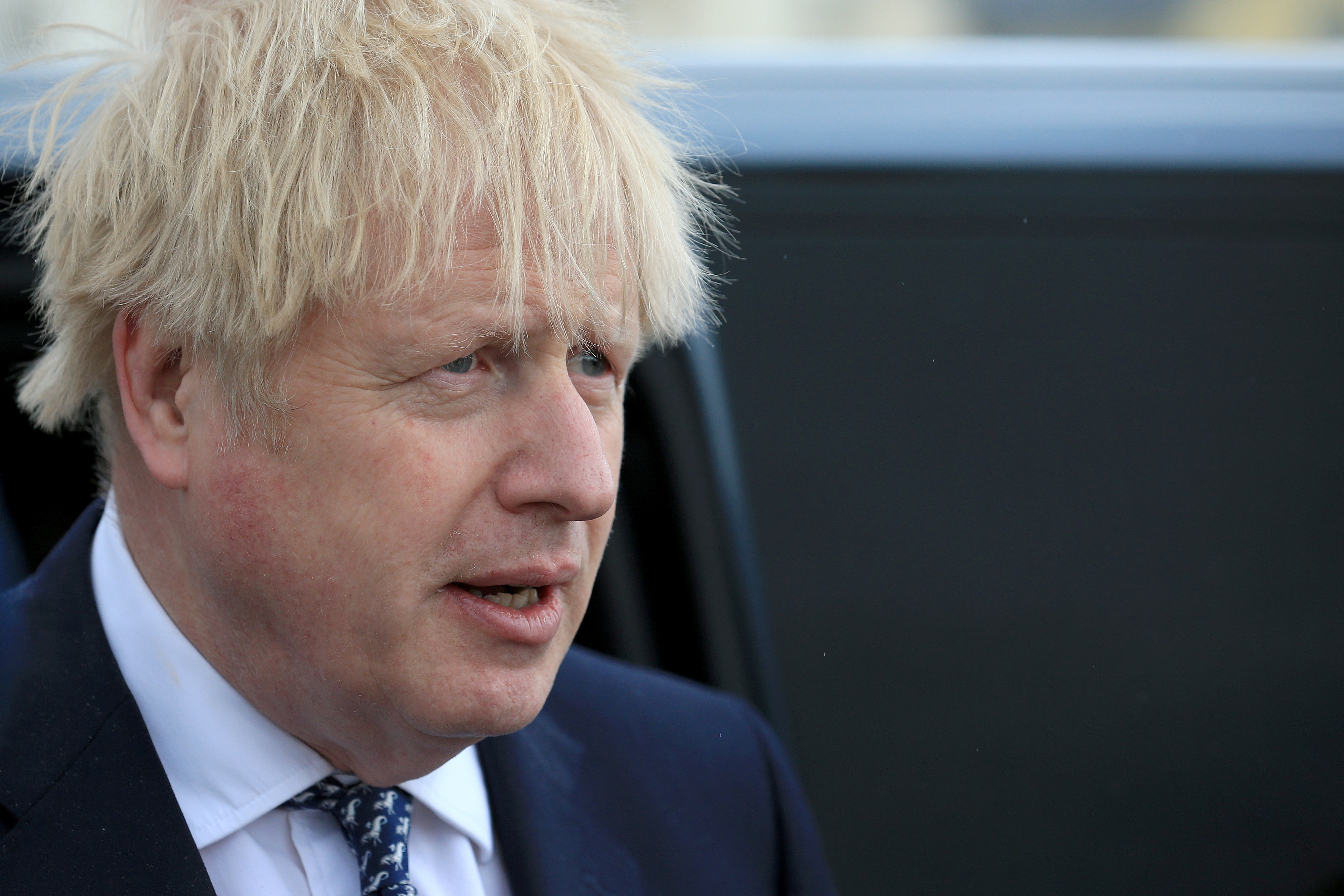 Britain's Prime Minister Boris Johnson looks on as he campaigns on behalf of Conservative Party candidate Jill Mortimer in Hartlepool, Britain May 3, 2021. Lindsey Parnaby/Pool via REUTERS