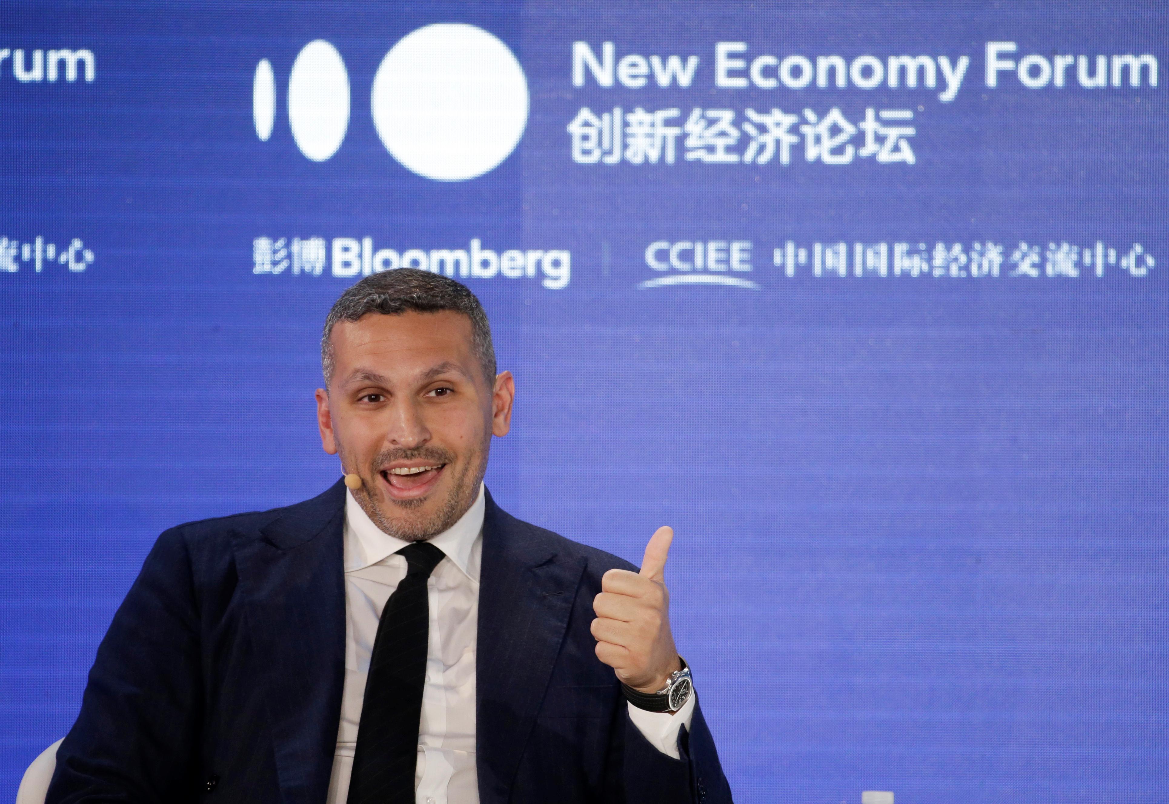 Khaldoon Khalifa Al Mubarak, group chief executive officer of Mubadala Investment Company, speaks at the 2019 New Economy Forum in Beijing, China November 21, 2019. REUTERS/Jason Lee