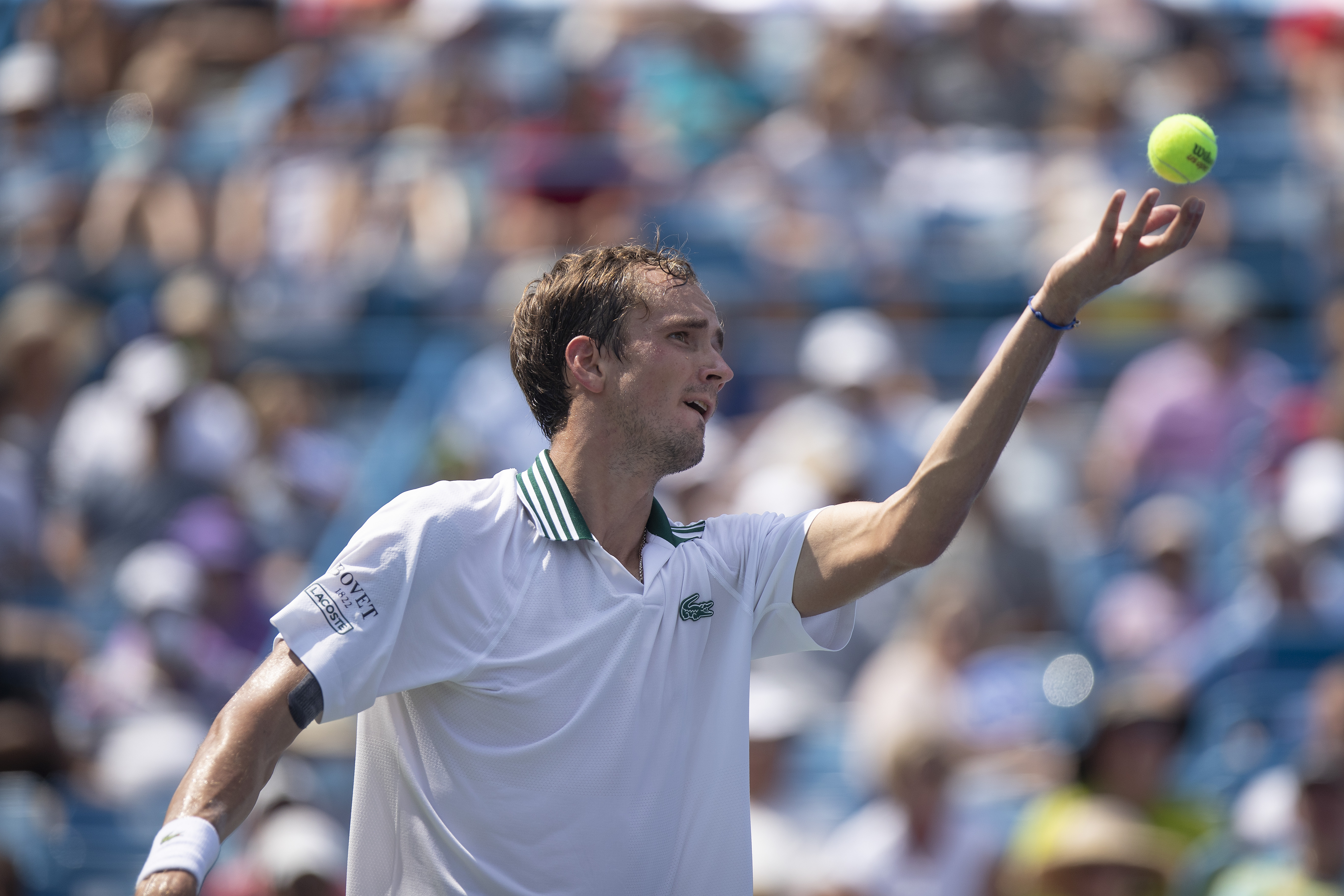 Aug 21, 2021; Mason, OH, USA; Daniil Medvedev (RUS) serves the ball during his semifinal match against Andrey Rublev (RUS not pictured) during the Western and Southern Open at the Lindner Family Tennis Center. Mandatory Credit: Susan Mullane-USA TODAY Sports