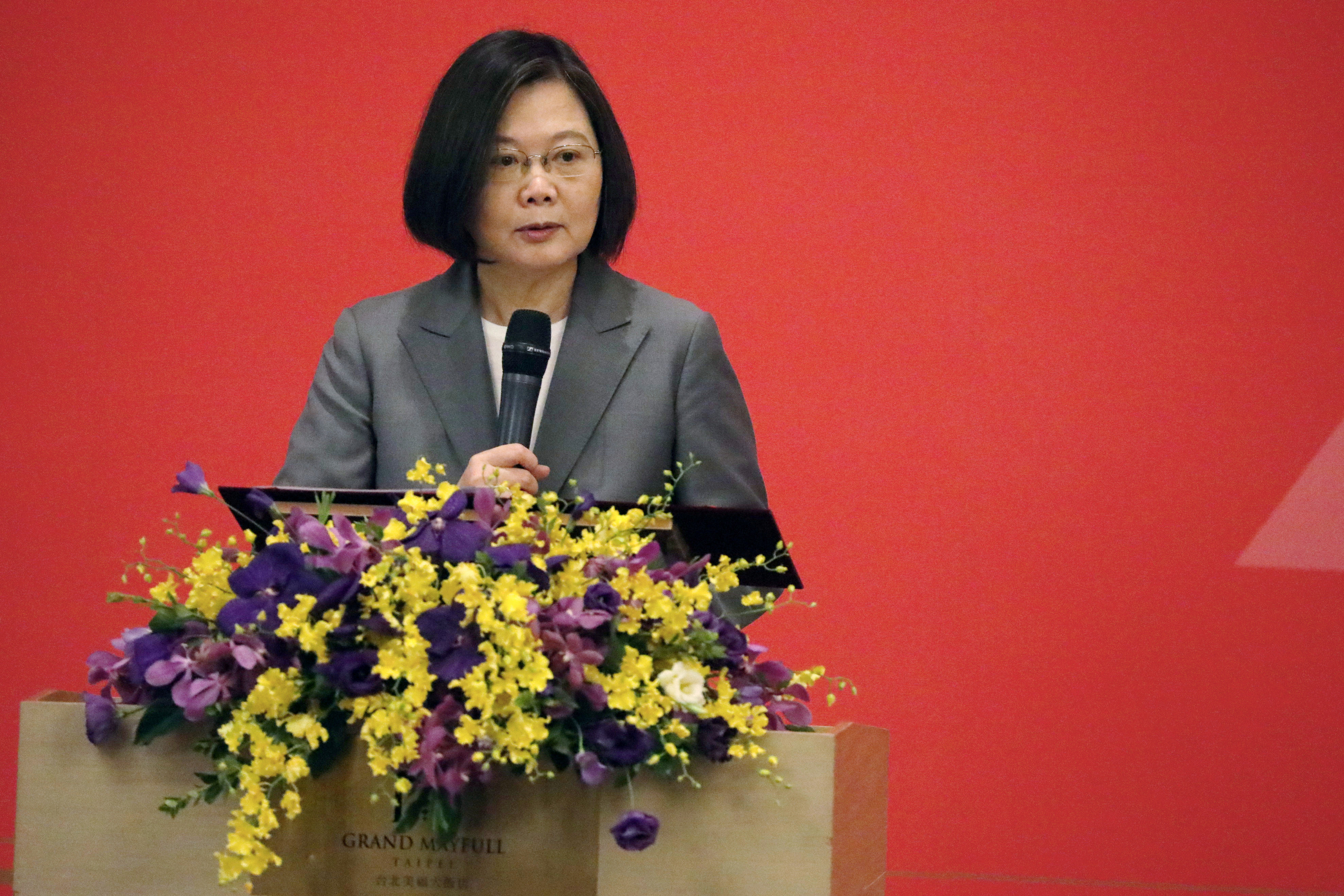 Taiwan's President Tsai Ing-wen speaks at The Third Wednesday Club, a high-profile private industry trade body in Taipei, Taiwan, August 19, 2020. REUTERS/Ann Wang