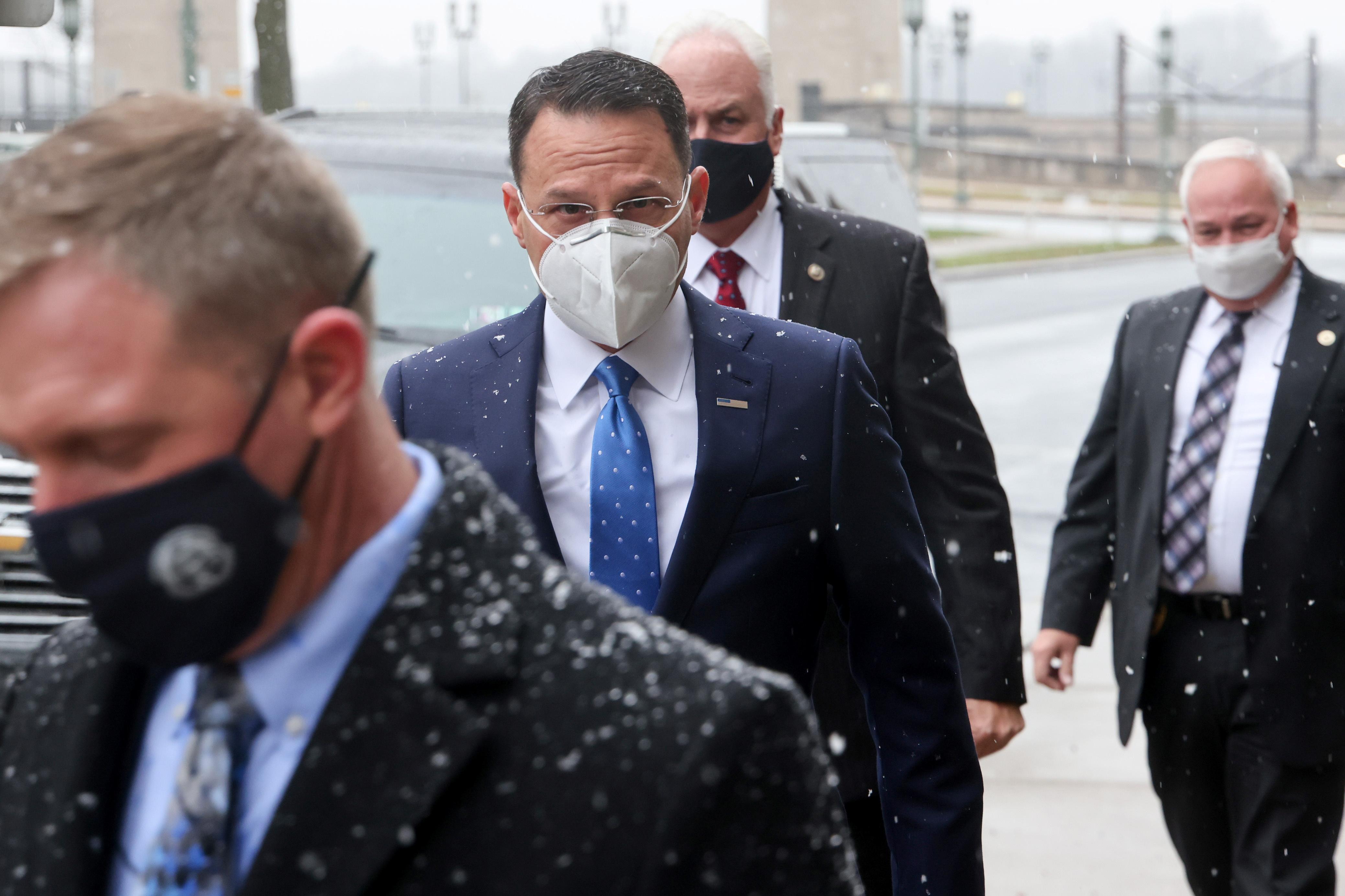 Pennsylvania Attorney General Josh Shapiro arrives at the state capitol complex in Harrisburg, Pennsylvania, U.S. December 14, 2020. REUTERS/Jonathan Ernst