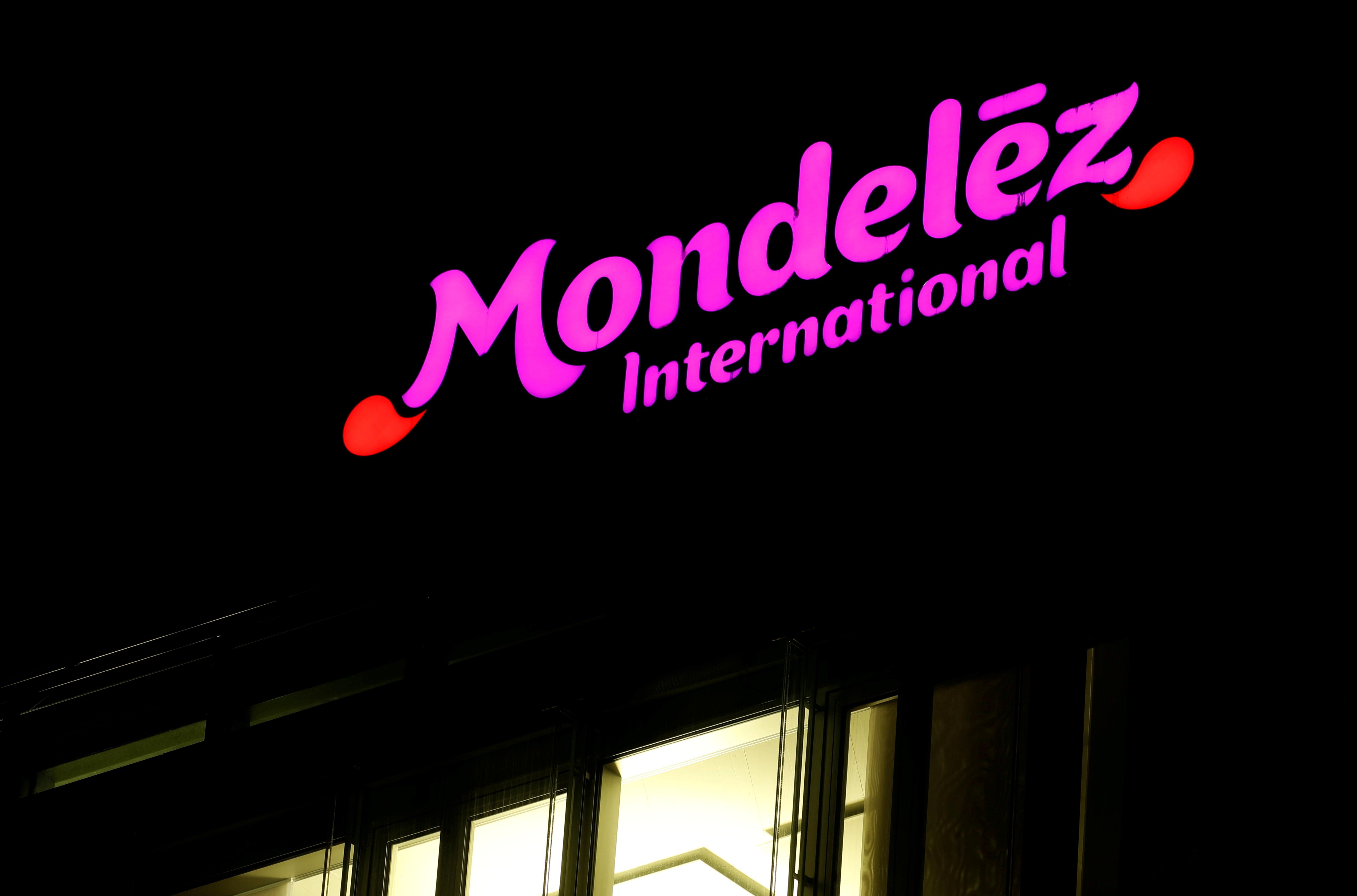 The logo of Mondelez International is seen on an office building in the Glattpark district in Opfikon, Switzerland October 2, 2018.  REUTERS/Arnd Wiegmann