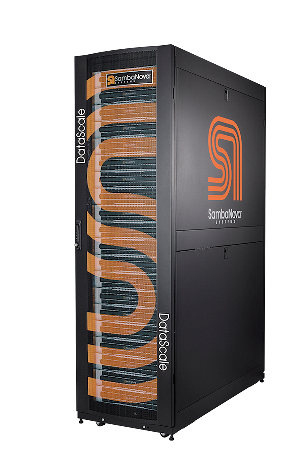 A data center server rack shows the logo of SambaNova Systems in this undated handout photo.  SambaNova/Handout via REUTERS