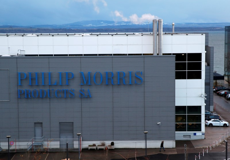 A Philip Morris logo is pictured on a factory in Serrieres near Neuchatel, Switzerland December 8, 2017/File Photo