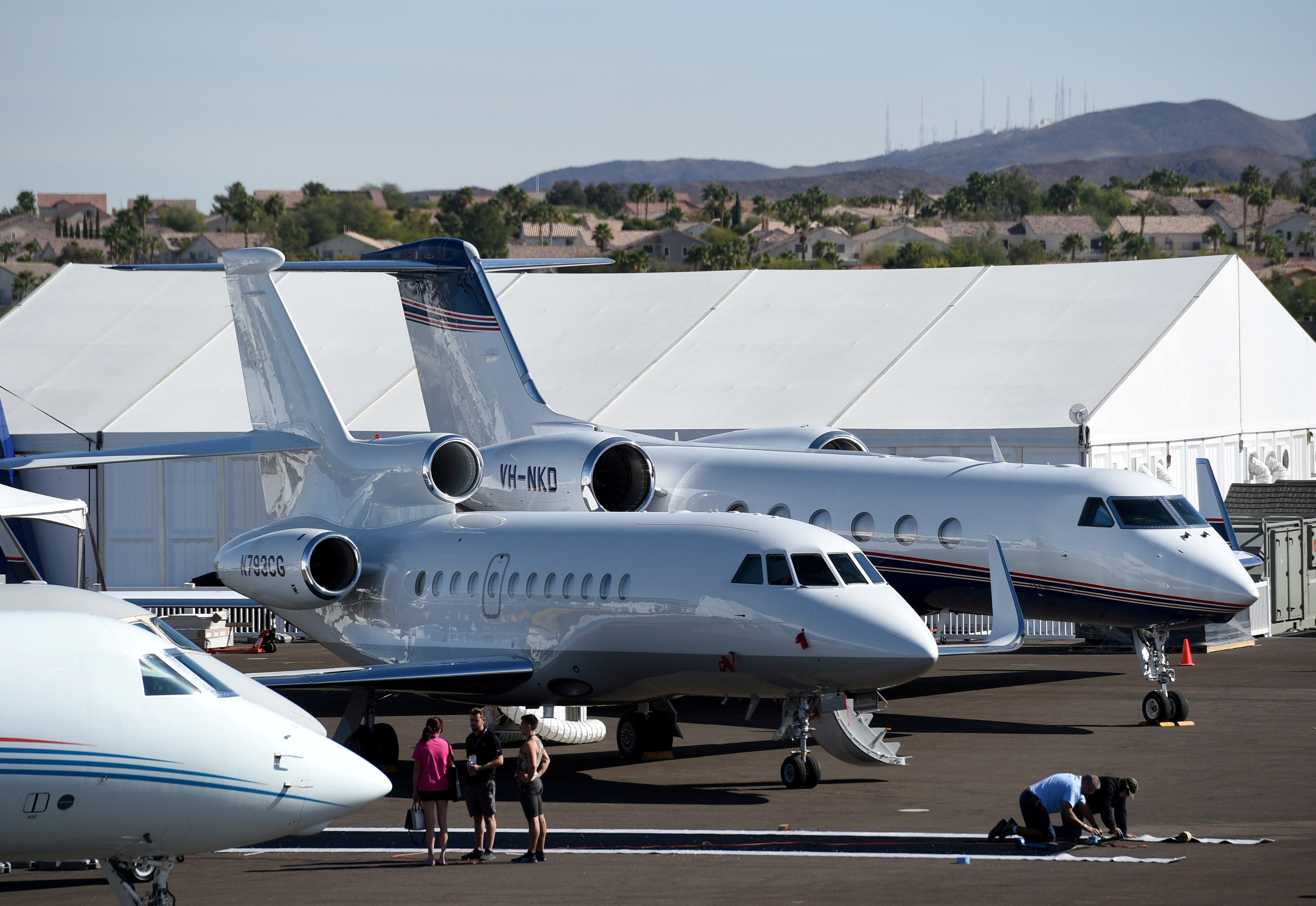 Business jets are seen at the National Business Aviation Association (NBAA) exhibition in Las Vegas, Nevada, U.S. October 21, 2019.  REUTERS/David Becker