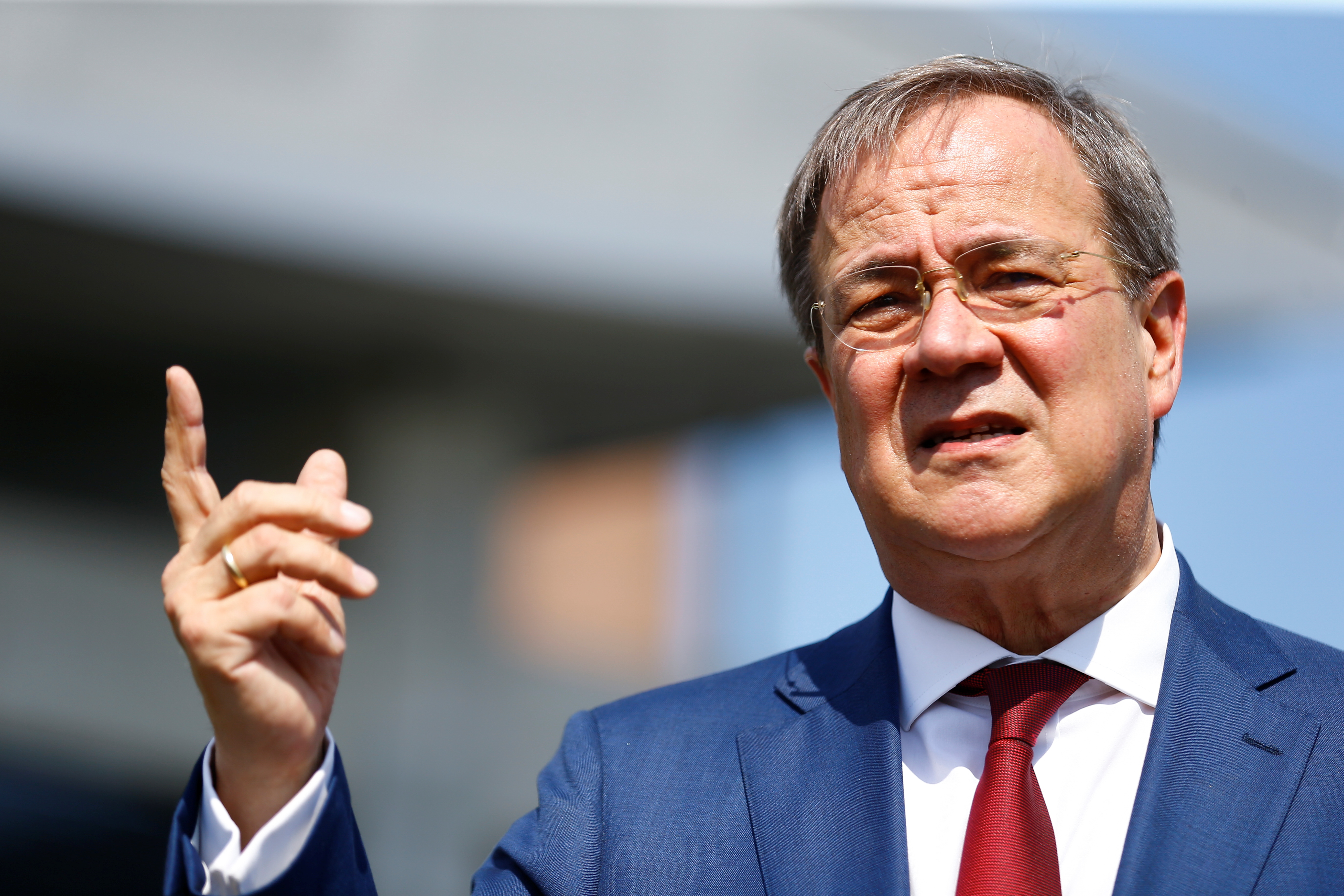 Christian Democratic Union (CDU) leader, Prime Minister of North Rhine-Westphalia and candidate for Chancellor Armin Laschet, speaks as he attends a launch event for a hydrogen electrolysis plant called 'REFHYNE', one of the world's first green hydrogen plants, at Shell's Rhineland refinery in Wesseling near Cologne, Germany, July 2, 2021. REUTERS/Thilo Schmuelgen