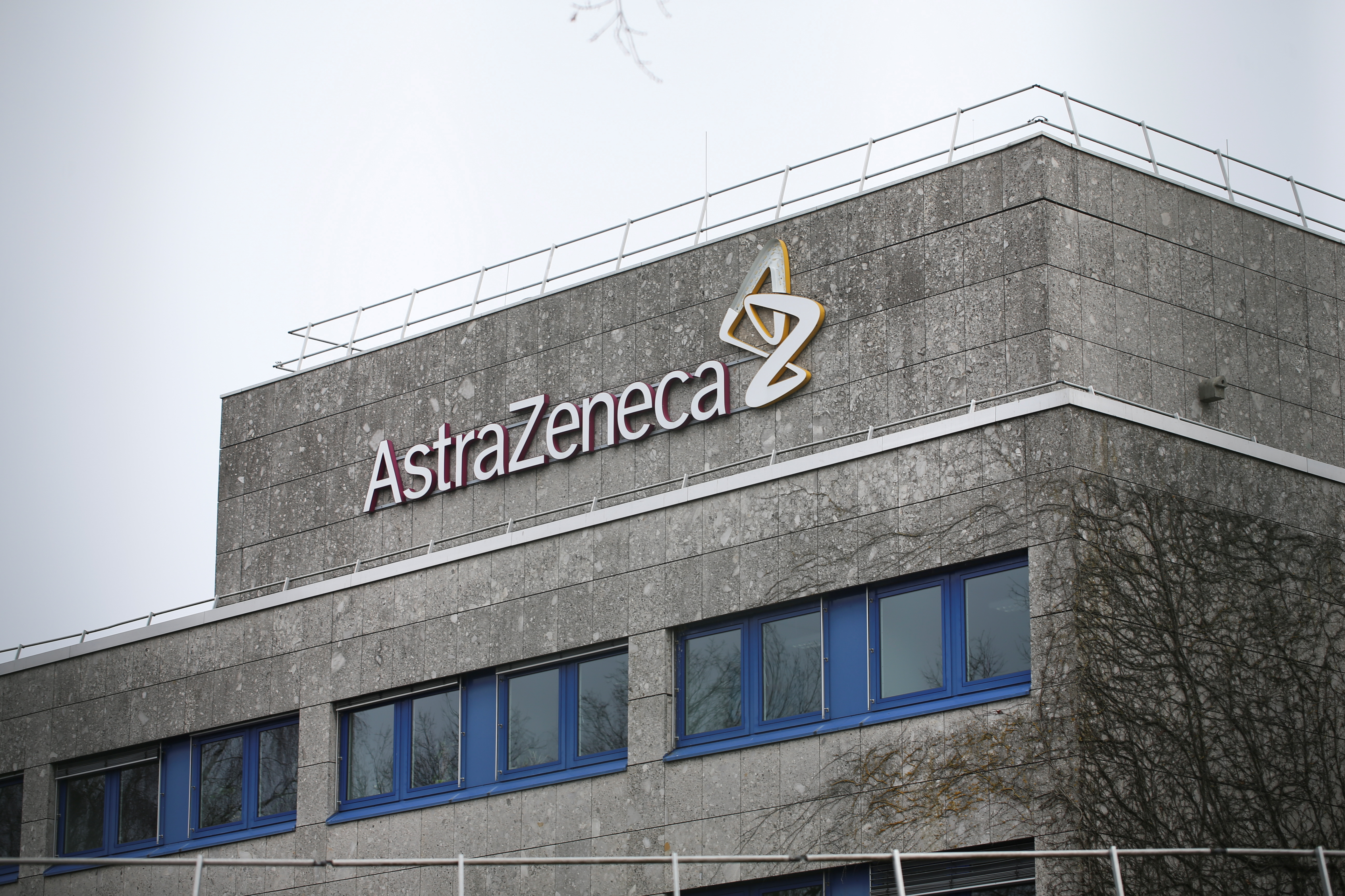 The logo of the German branch of British-Swedish pharmaceutical company AstraZeneca is pictured in Wedel near Hamburg, Germany, March 1, 2021.     REUTERS/Cathrin Mueller