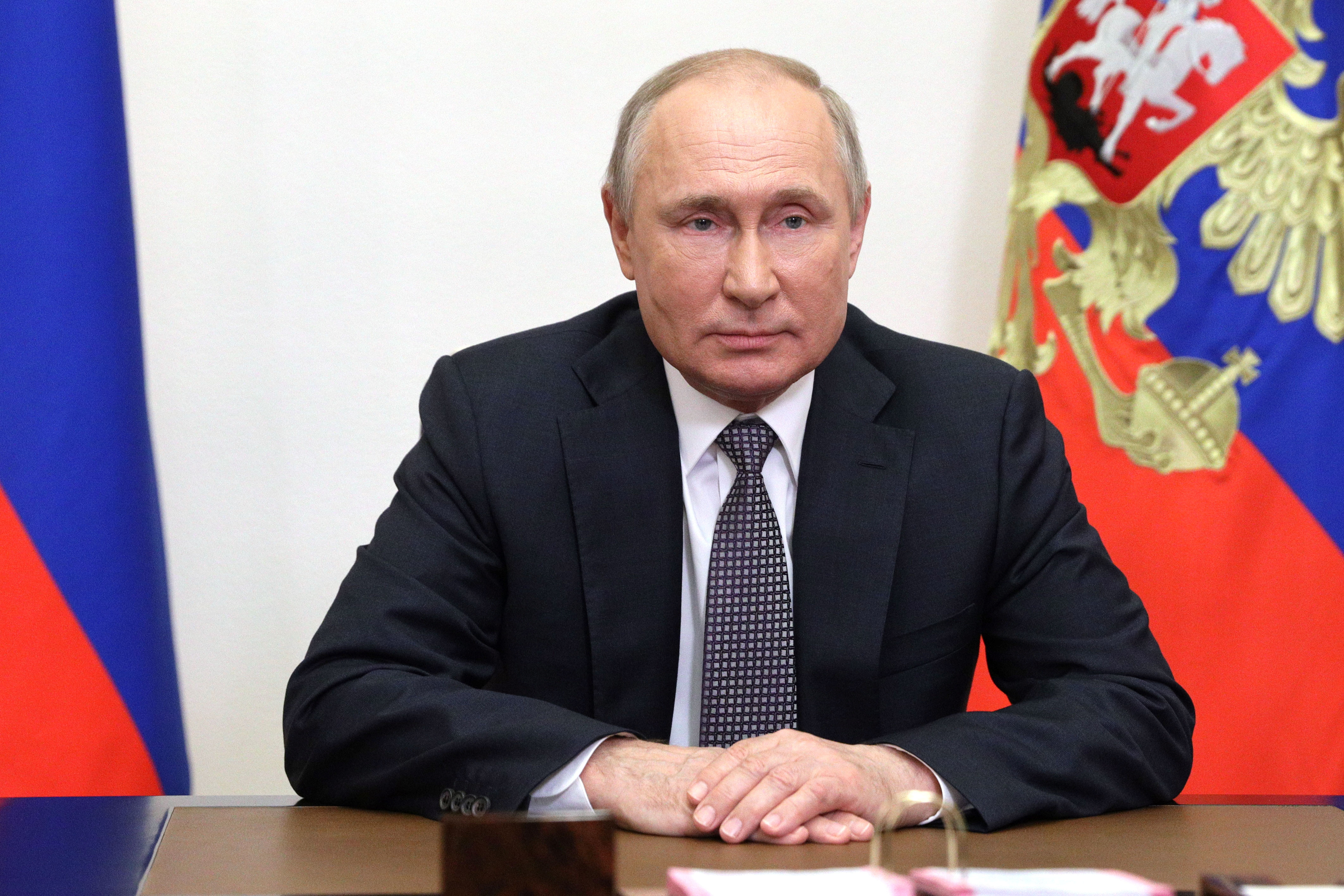 Russian President Vladimir Putin addresses participants of the IX Moscow Conference on International Security (MCIS) via video link at the Novo-Ogaryovo state residence outside Moscow, Russia June 23, 2021. Sputnik/Sergey Ilyin/Kremlin via REUTERS