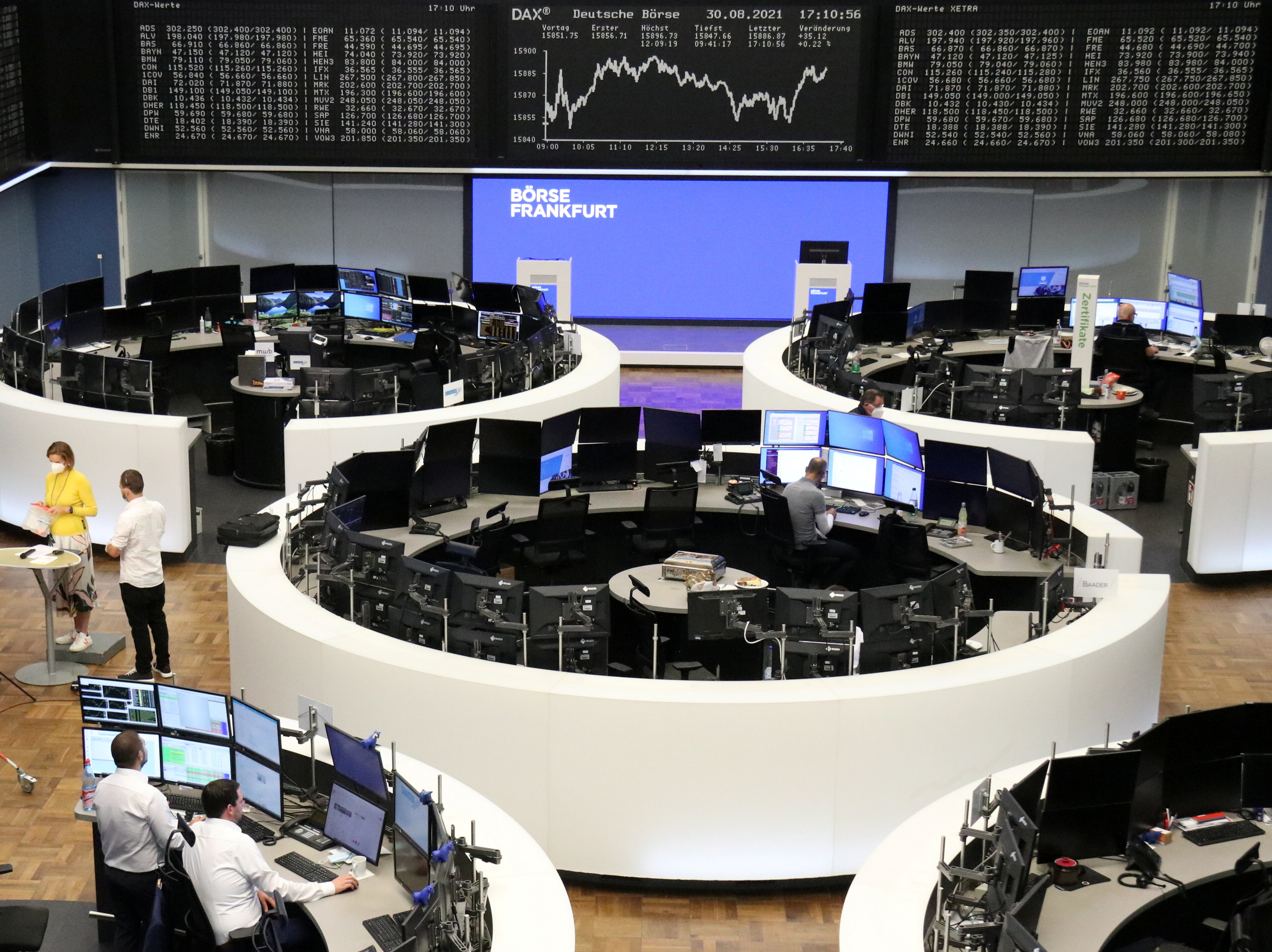 The German share price index DAX graph is pictured at the stock exchange in Frankfurt, Germany August 30, 2021. REUTERS/Staff